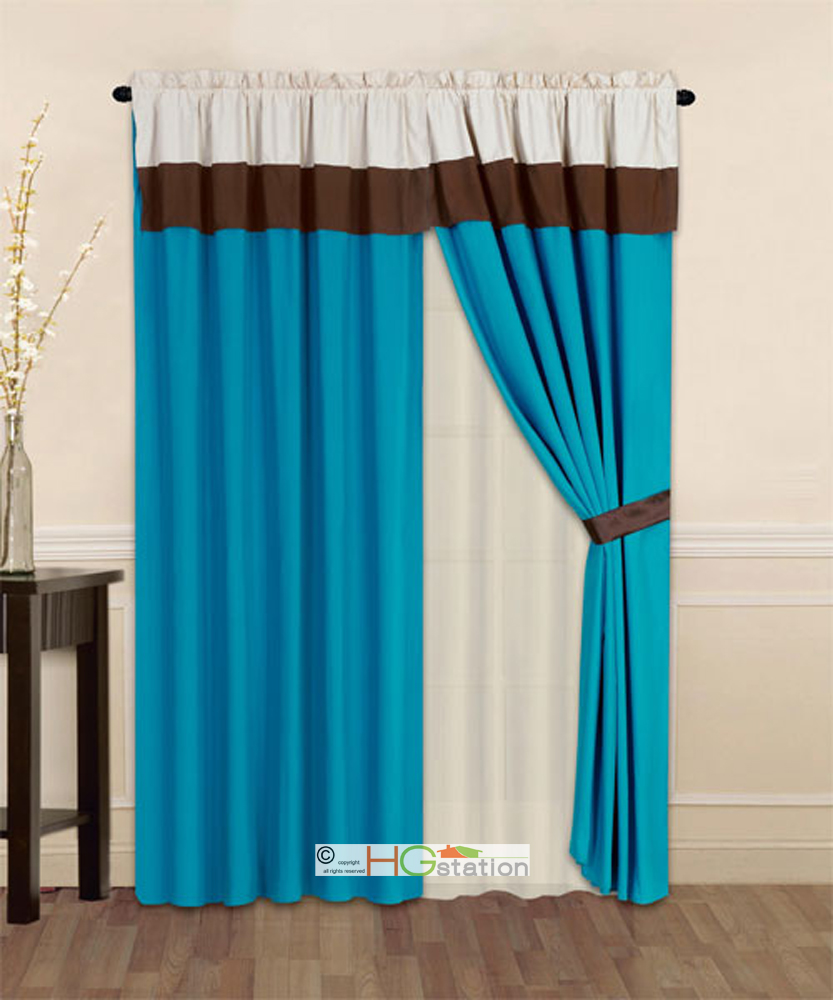 4-Pc Striped Solid Modern Curtain Set Turquoise Brown