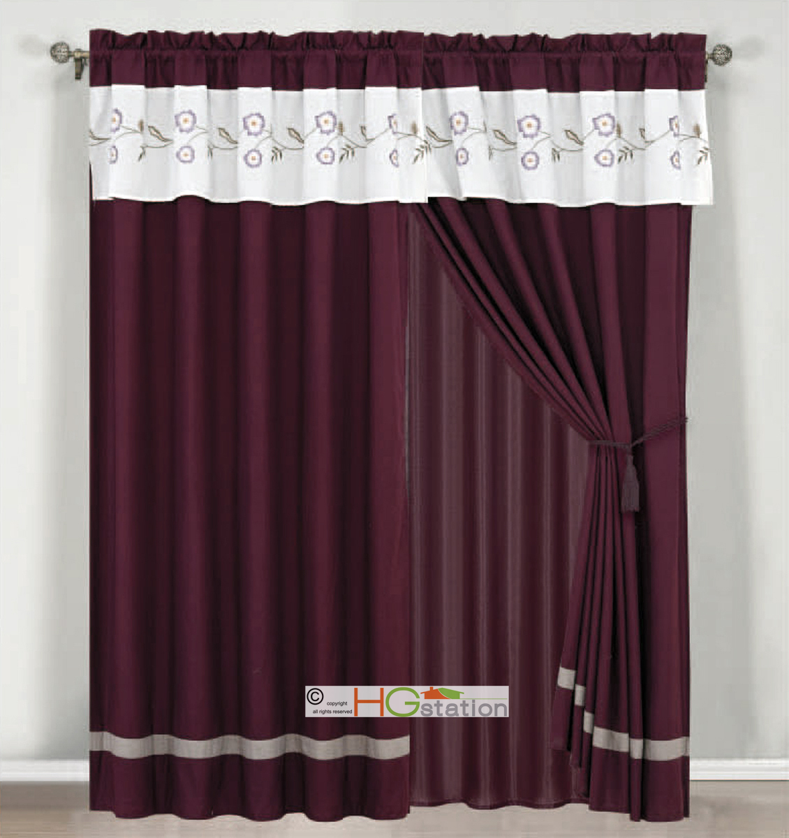4Pc Floral Striped Embroidery Curtain Set Purple Gray Silver White ...