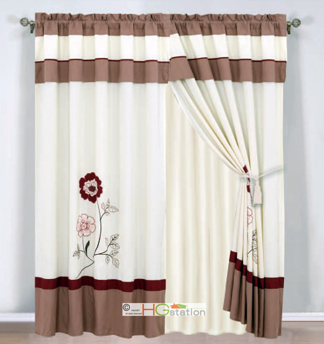 4 Pc Embroidered Striped Floral Curtain Set Ivory Burgundy