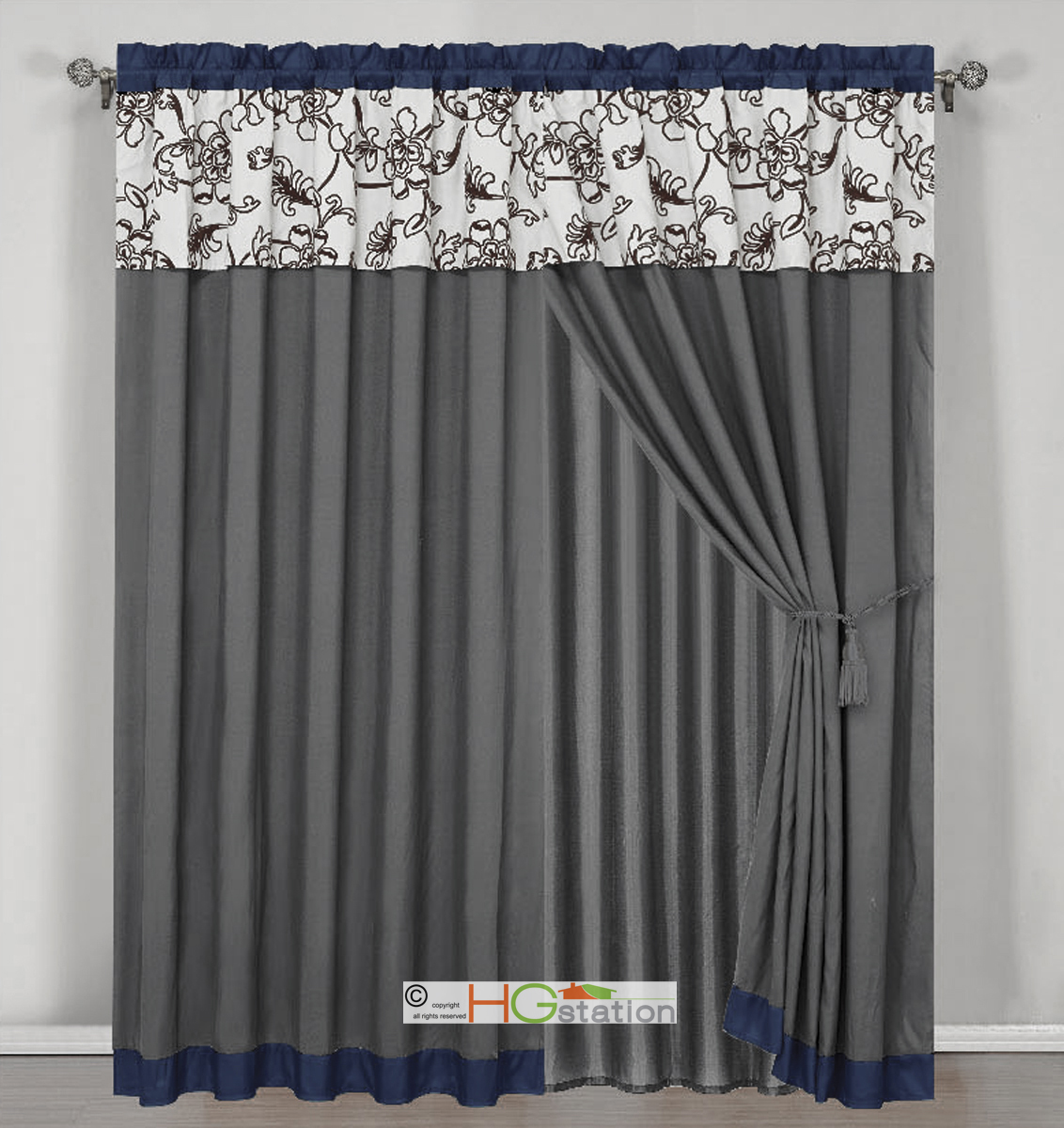 4 stripe oasis floral garden curtain set blue gray brown off white valance drape. Black Bedroom Furniture Sets. Home Design Ideas