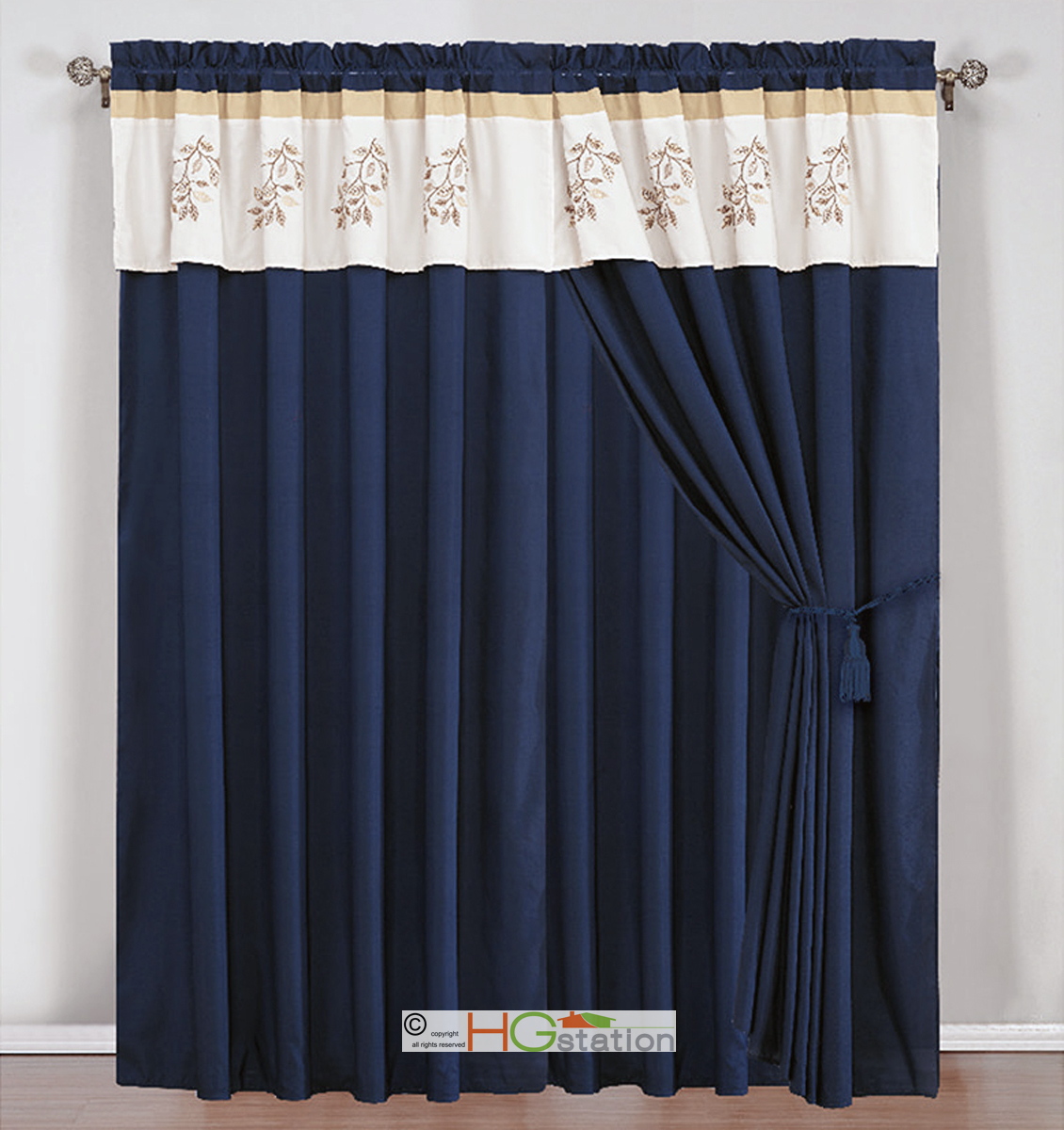 4 Sea Breeze Leaves Embroidery Curtain Set Ivory Navy Blue ...