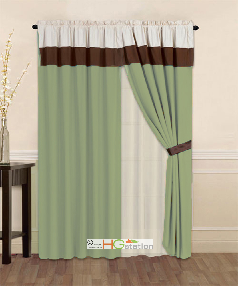 Green And Brown Curtains: 4-Pc Striped Solid Modern Curtain Set Sage Green Brown