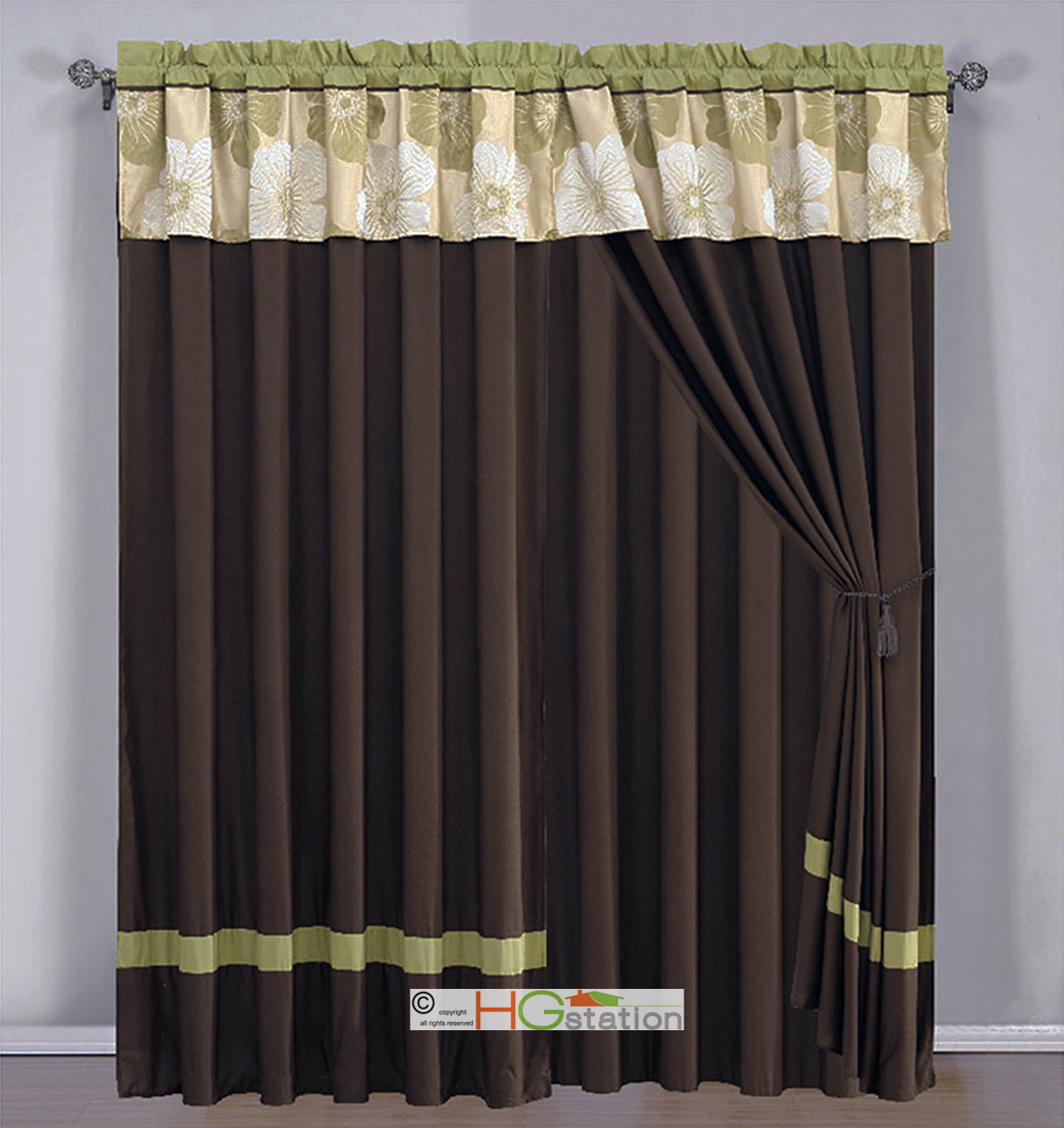 4p Jacquard Flower Striped Curtain Set Sage Green Brown Gold Beige Valance Drape Ebay