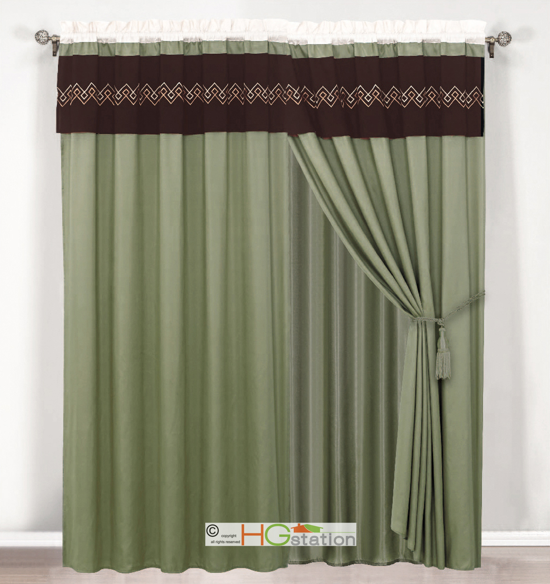 4p Southwest Diamond Embroidery Curtain Set Sage Green