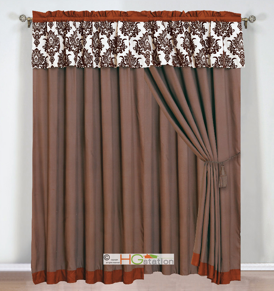 4p felt damask floral curtain set orange rust coffee beige. Black Bedroom Furniture Sets. Home Design Ideas