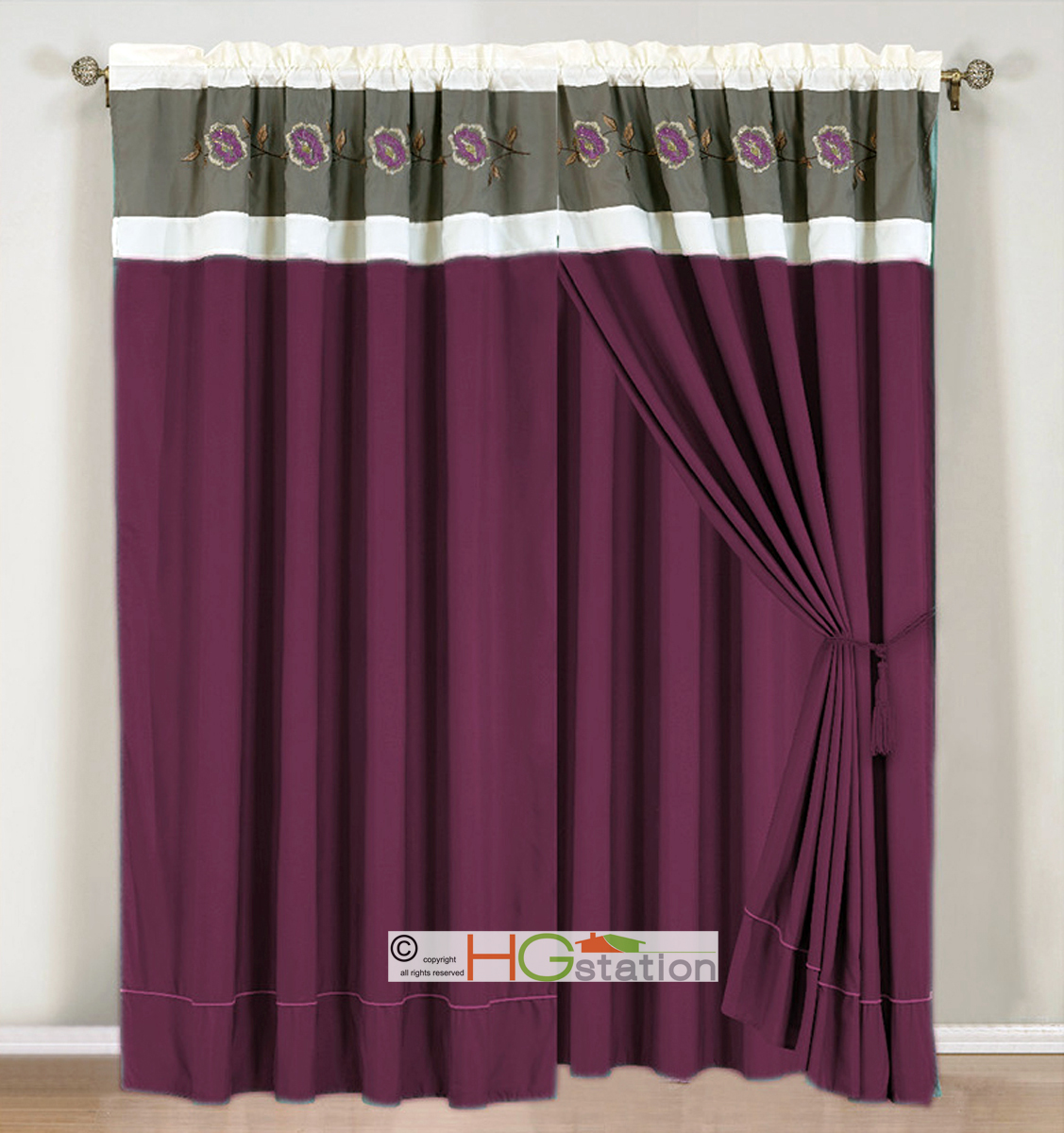 4p Embroidery Floral Striped Curtain Set Plum Purple Lavender Gray Valance Drape Ebay