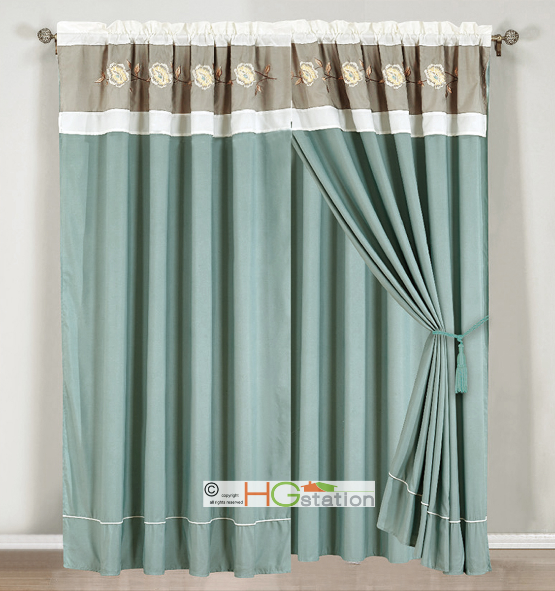 4 Pc Embroidery Pleated Floral Curtain Set Sea Green Blue Silver White Valanc