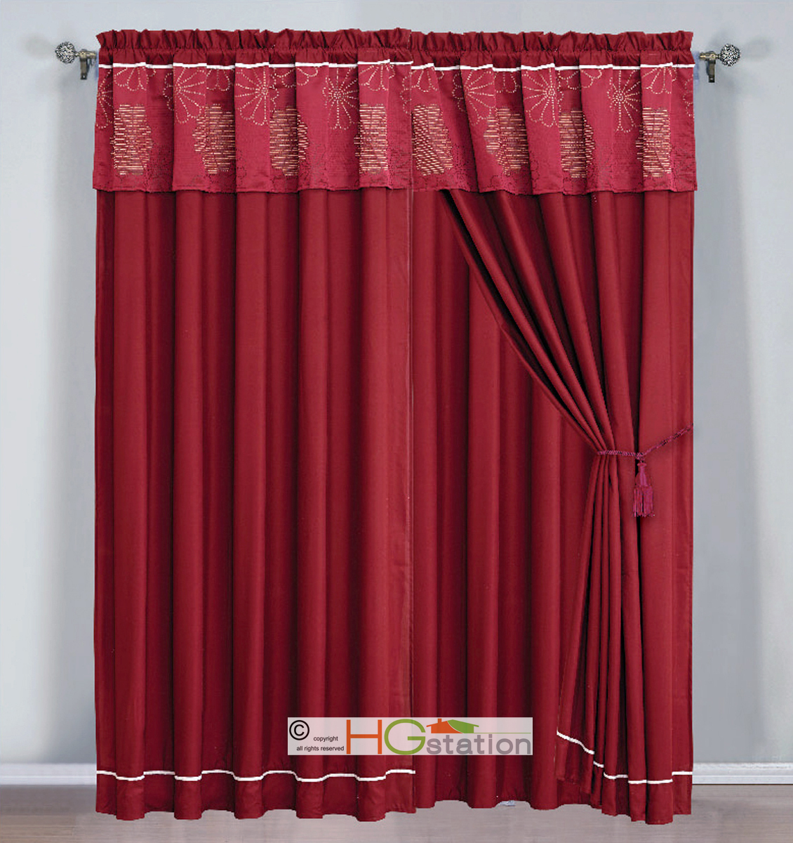 4 pc jacquard striped daisy floral curtain set burgundy Beige curtains