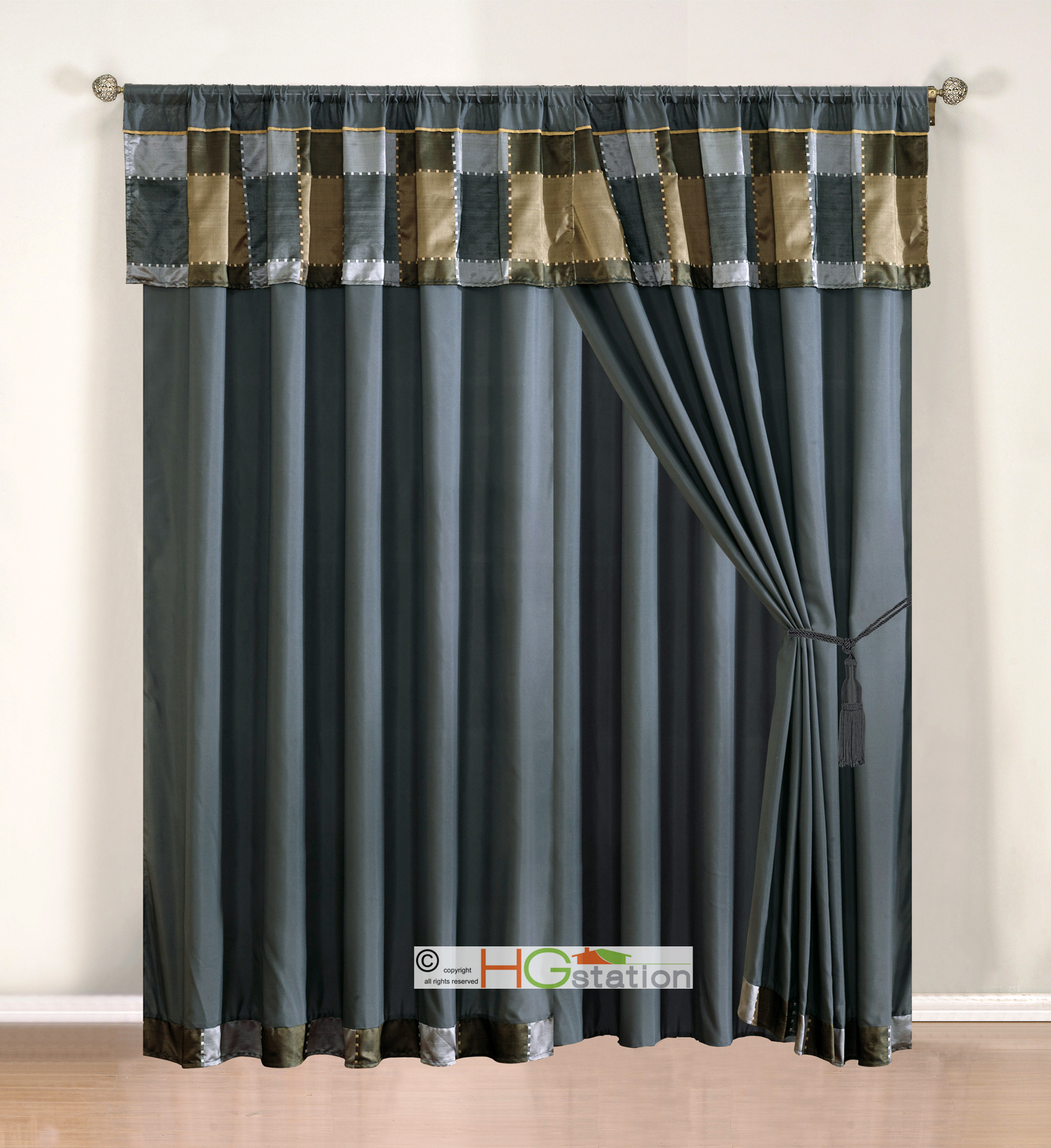 4-Pc Jacquard Patchwork Curtain Set Pewter Silver Gray