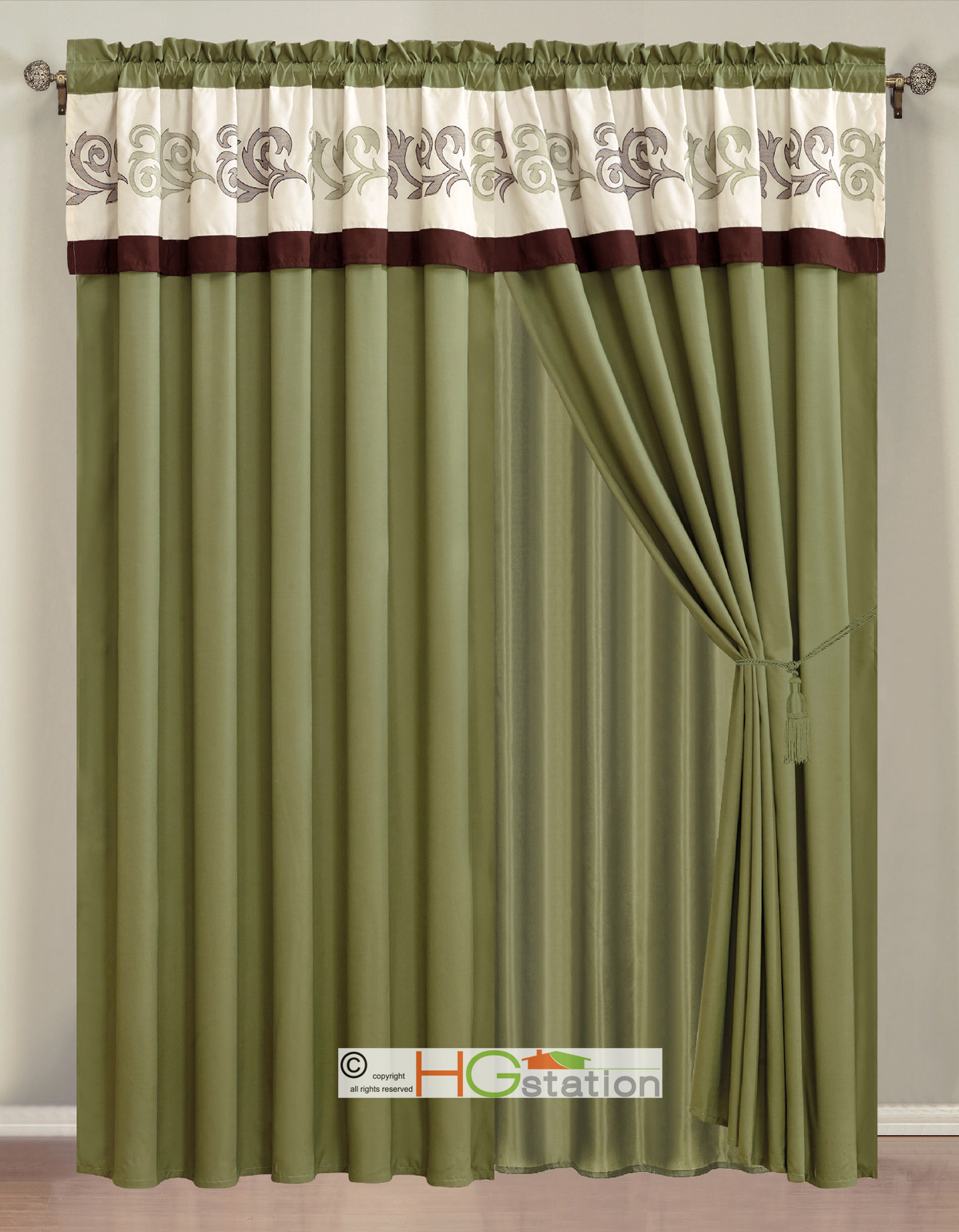 PC Embroidery Scroll Floral Vine Curtain Set Sage Ivory Brown ...