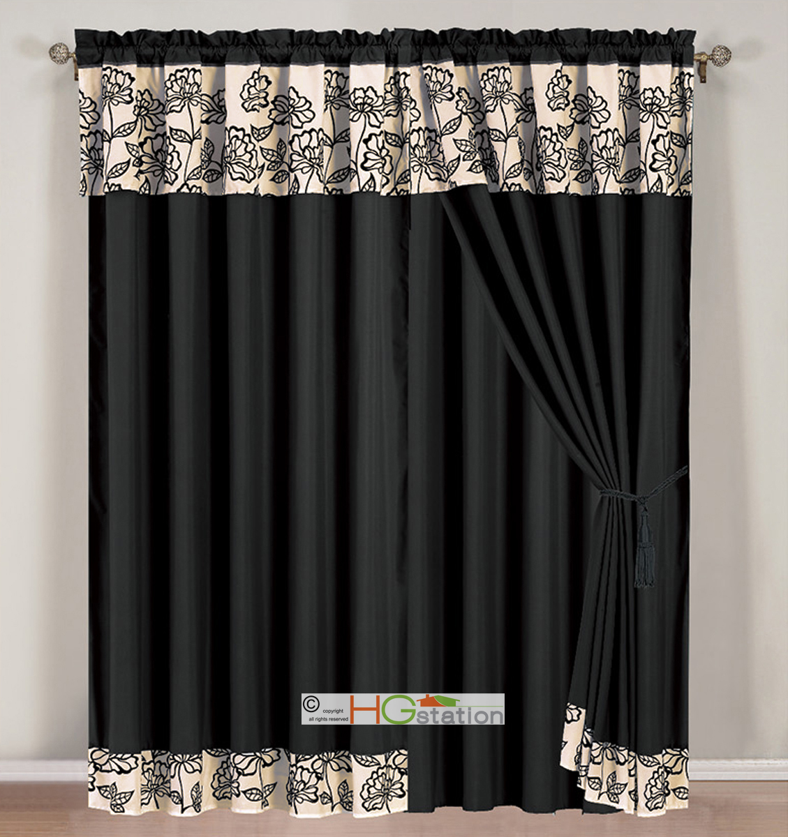 4 pc striped floral garden gothic curtain set black beige