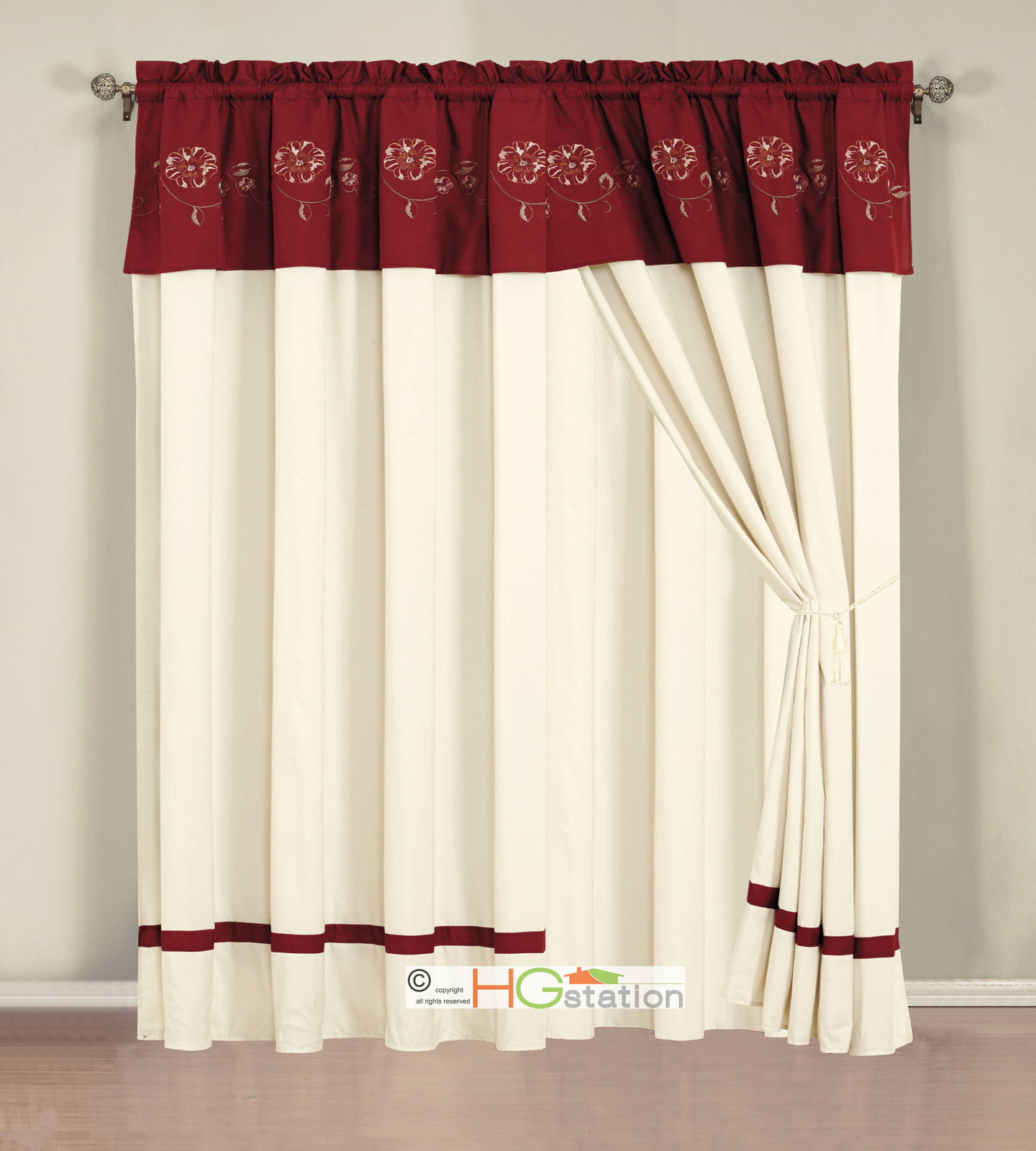4 P Embroidery Summer Floral Blossom Vine Curtain Set