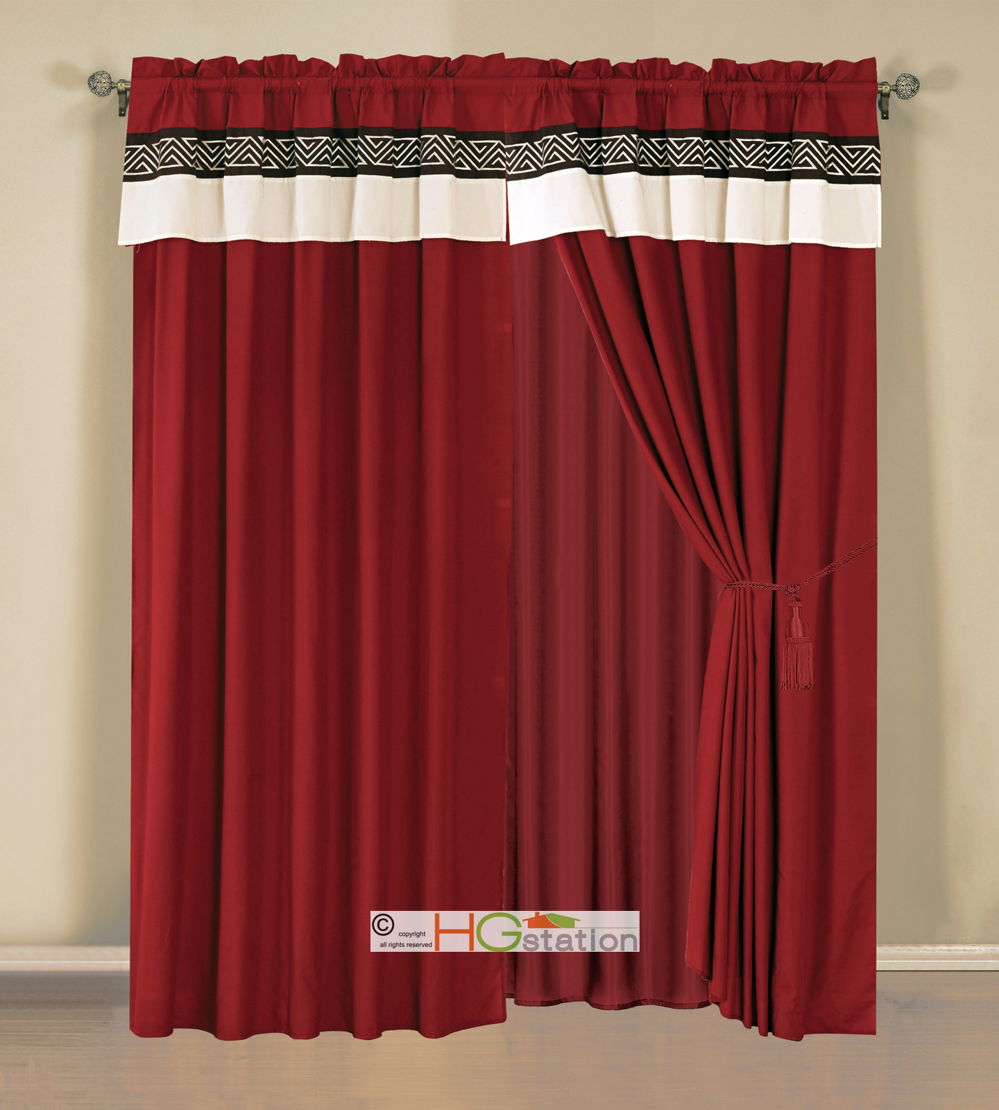4 Pc Embroidery Triangle Meander Greek Key Curtain Set