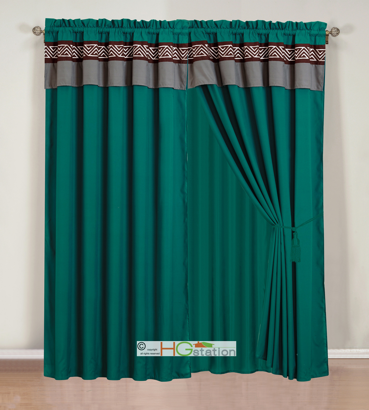 Teal valance curtains