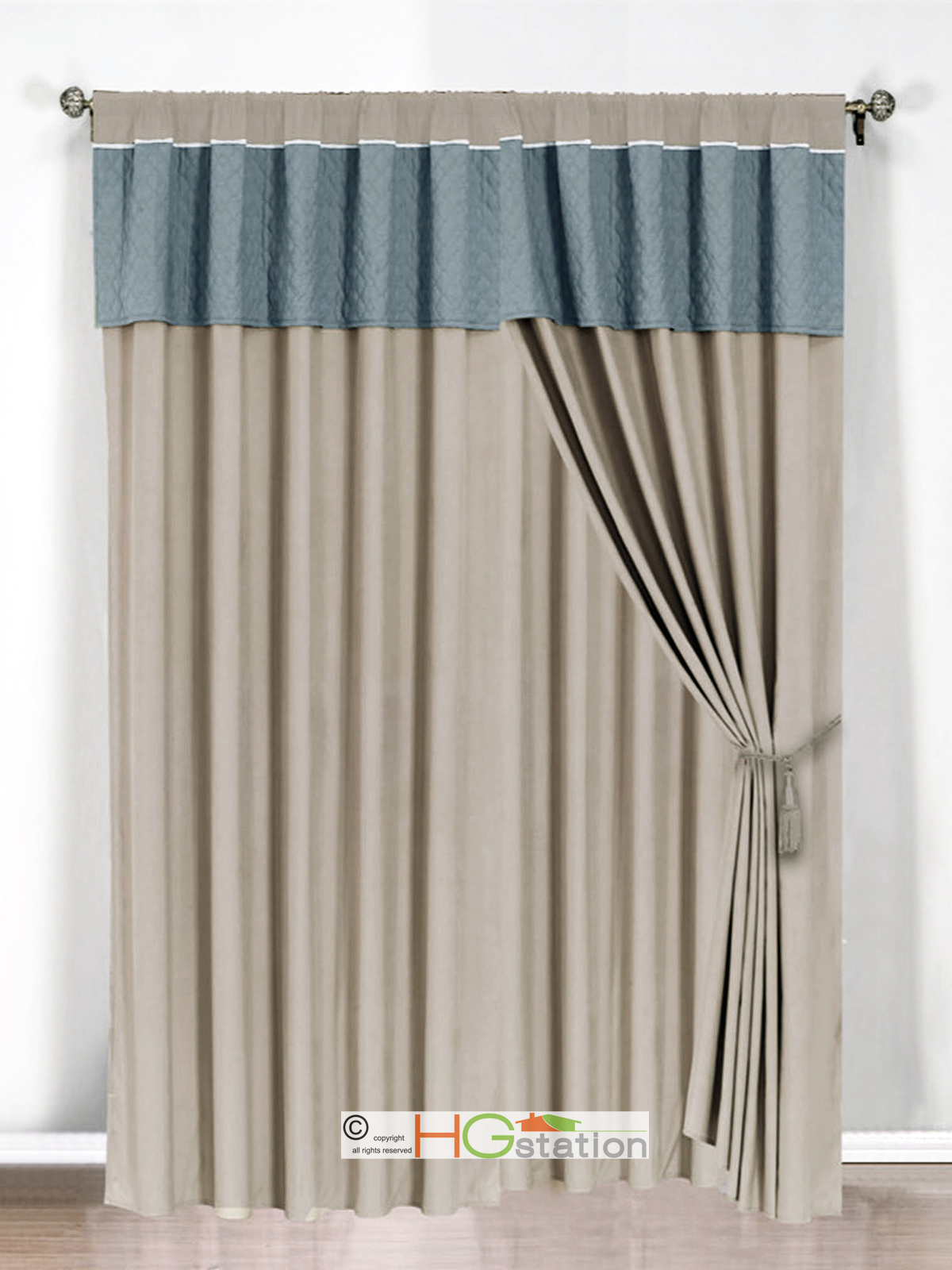 - Epic window treatment decoration with slate blue curtain ...