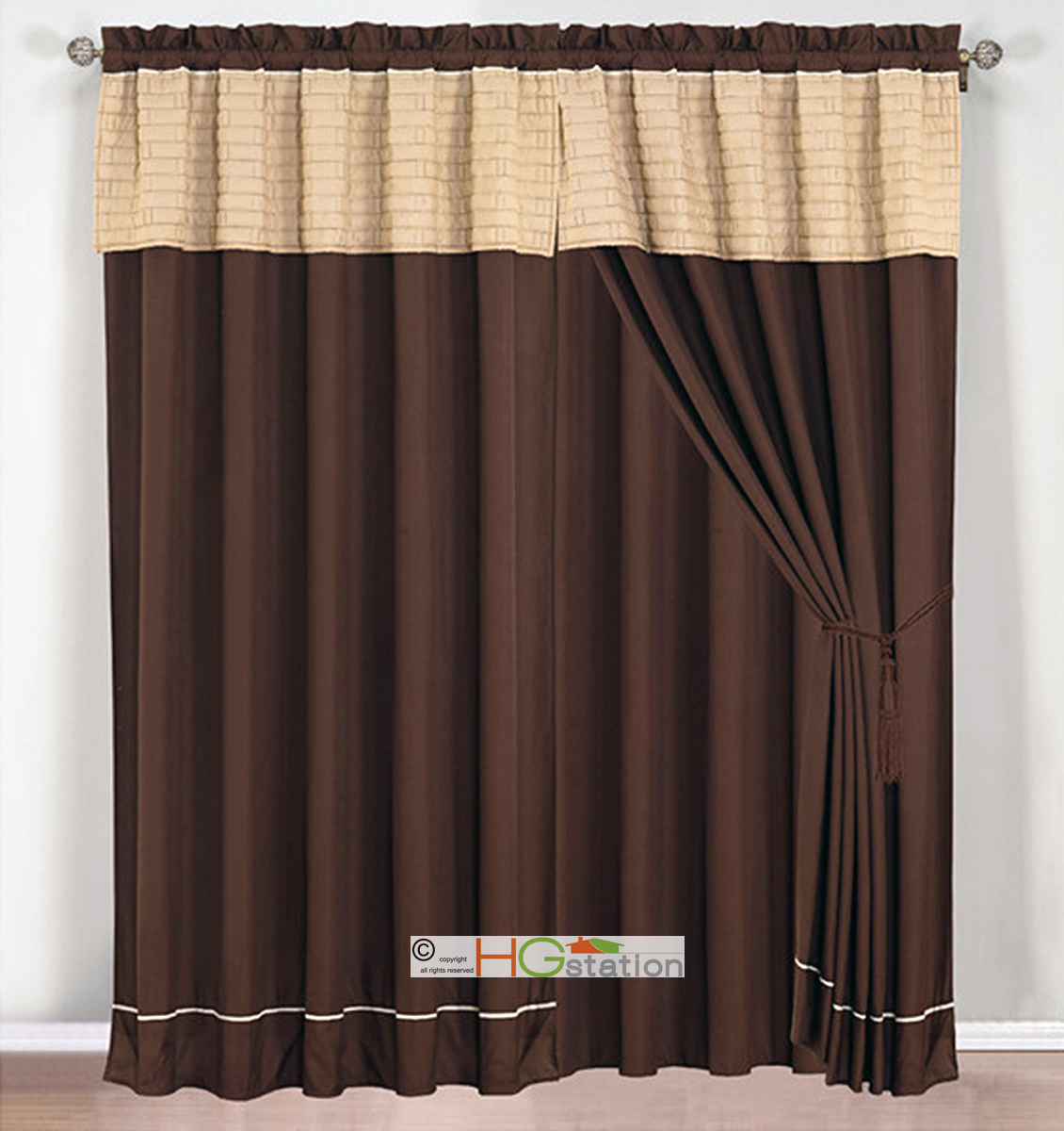 4 PC Brickyard Quilted Curtain Set Tan Coffee Brown Beige