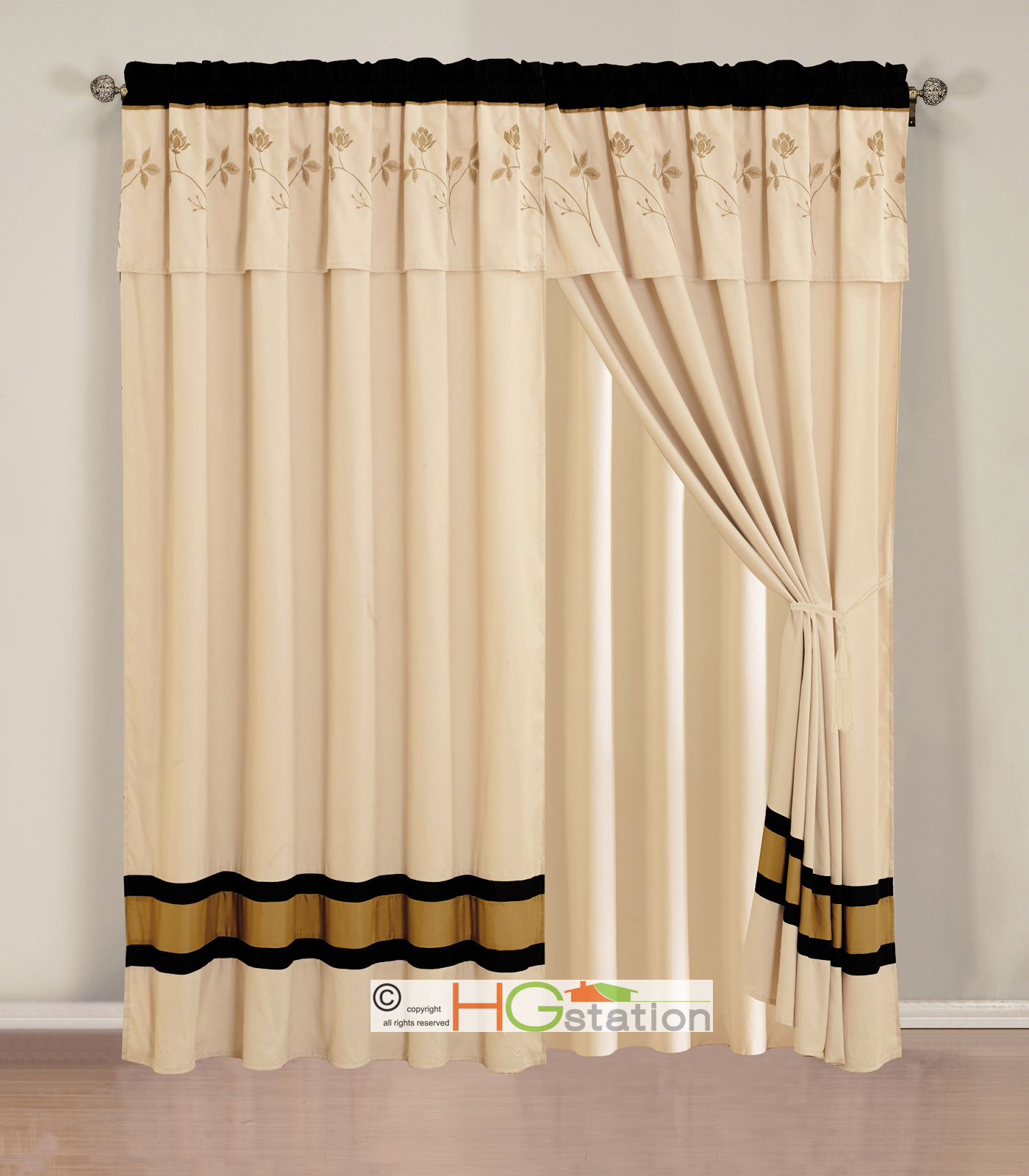 4 Pc Classy Verona Floral Embroidery Curtain Set Beige Black Gold Valance Sheer Ebay