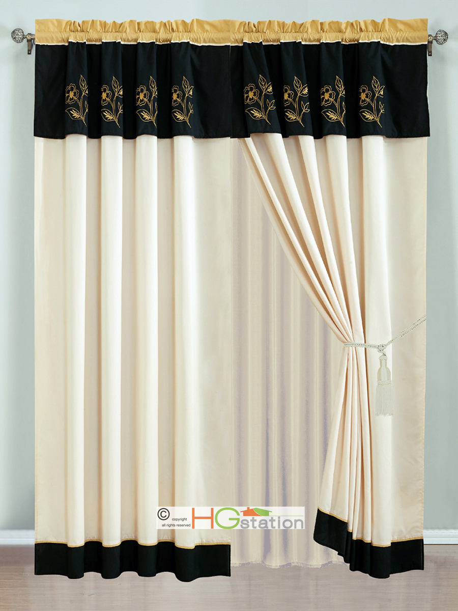 4 Pc Allura Floral Embroidery Striped Curtain Set Gold Ivory Black Valance Sheer Ebay