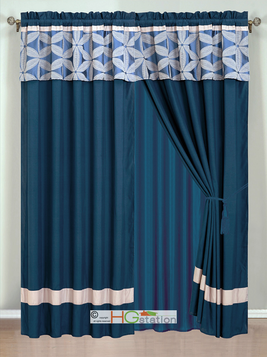 4P Jacquard Floral Petal Striped Curtain Set Navy Blue Silver Gray Valance Sh