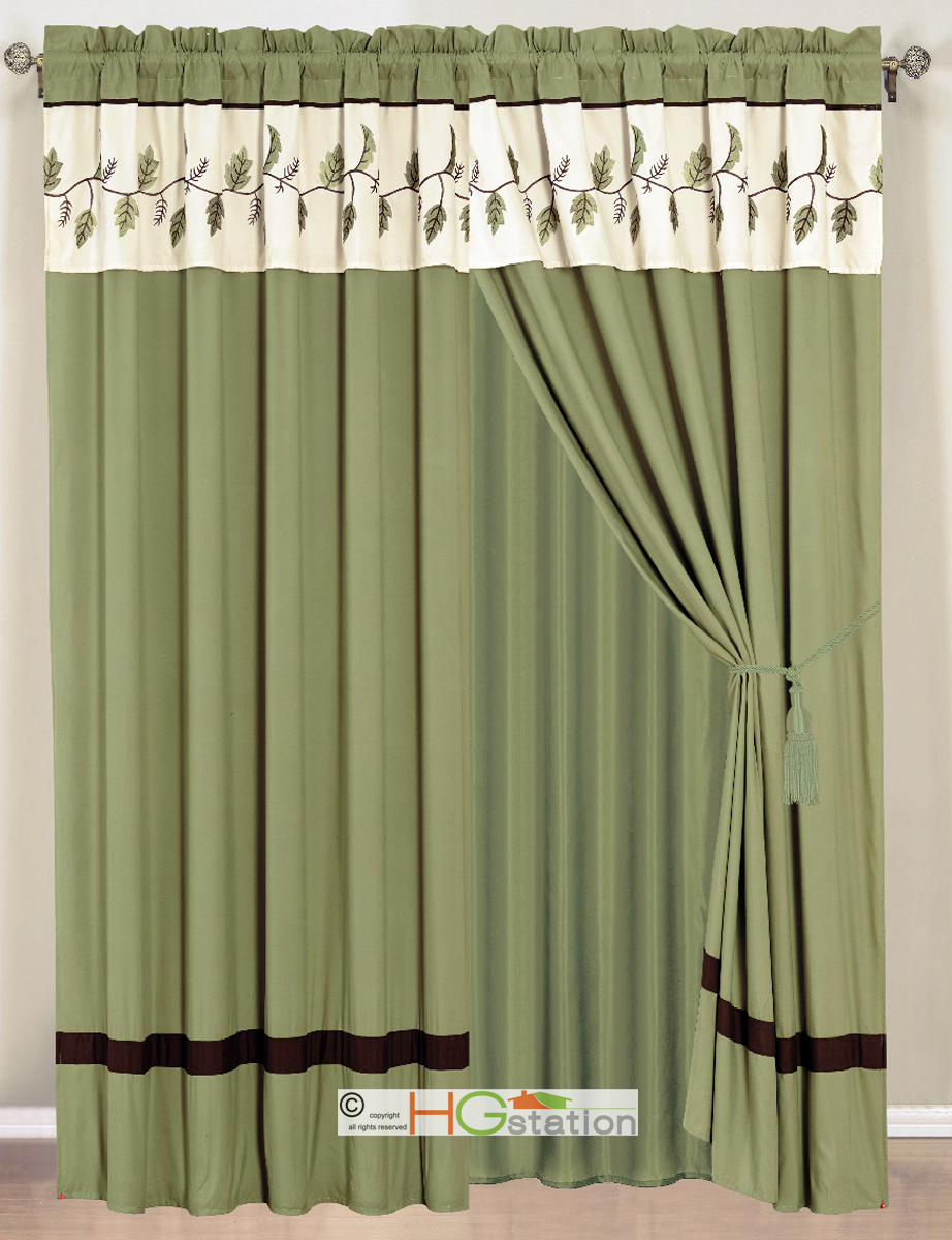 4 Pc Leaves Embroidery Striped Curtain Set Sage Green Brown Beige Valance Drape Ebay