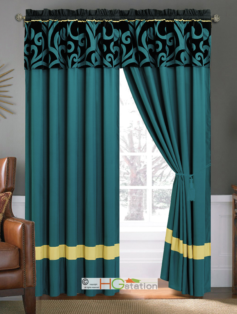 4 Pc Bold Royal Damask Floral Scroll Curtain Set Teal Blue Black Yellow Valance Ebay