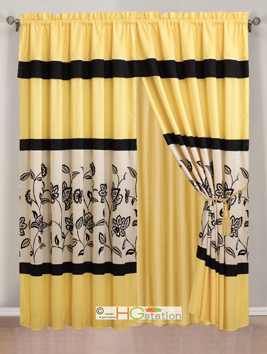 4 pc flocking floral garden curtain set yellow black ivory off white valance. Black Bedroom Furniture Sets. Home Design Ideas