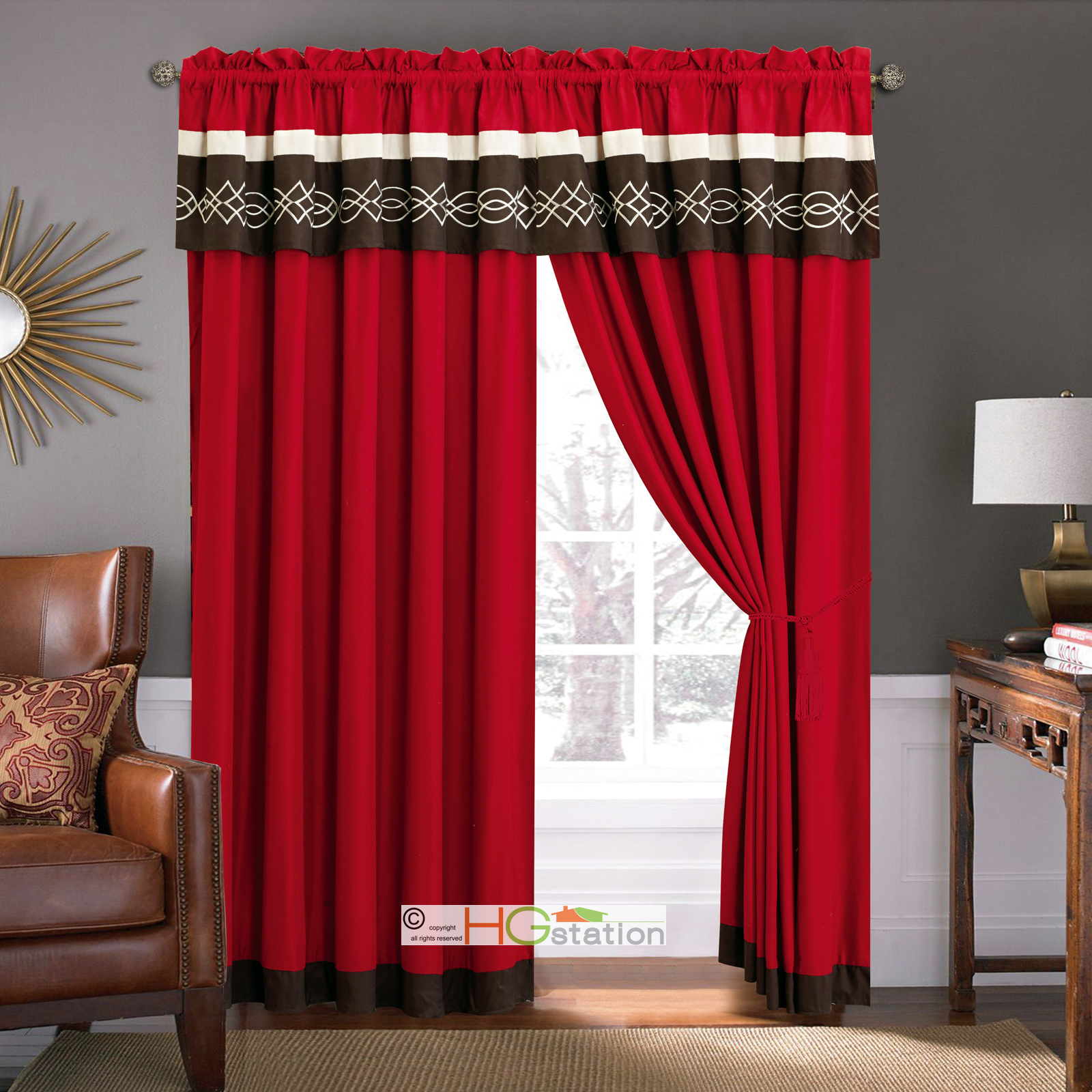Chili Pepper Kitchen Curtains: 11-Pc Quilted Clamshell Embroidery Comforter Curtain Set