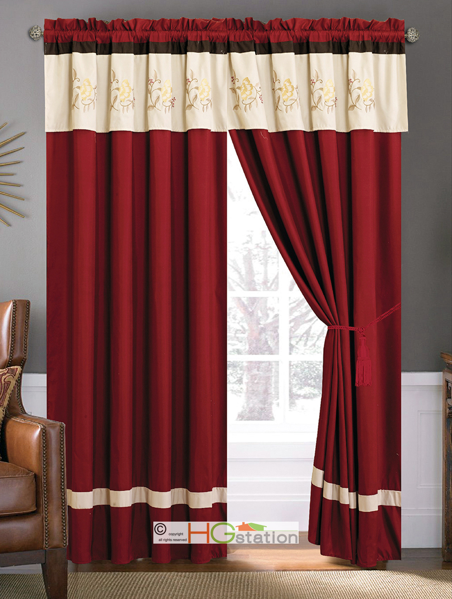 Red ticking curtains