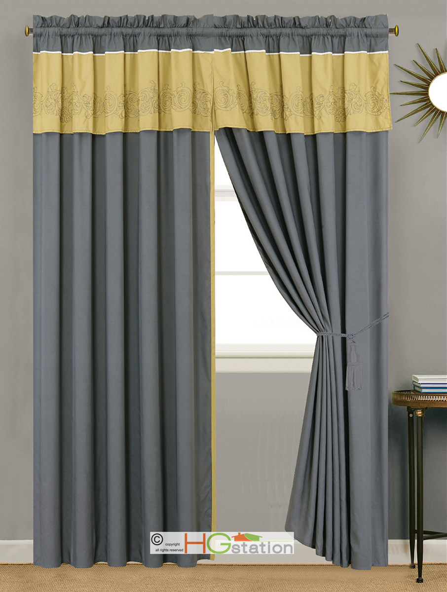 4 Pc Floral Scroll Damask Embroidery Curtain Set Gray Yellow Ivory Valance Sheer Ebay