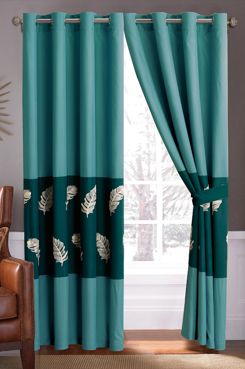 Pc fir leaves feather embroidery ruffled curtain set