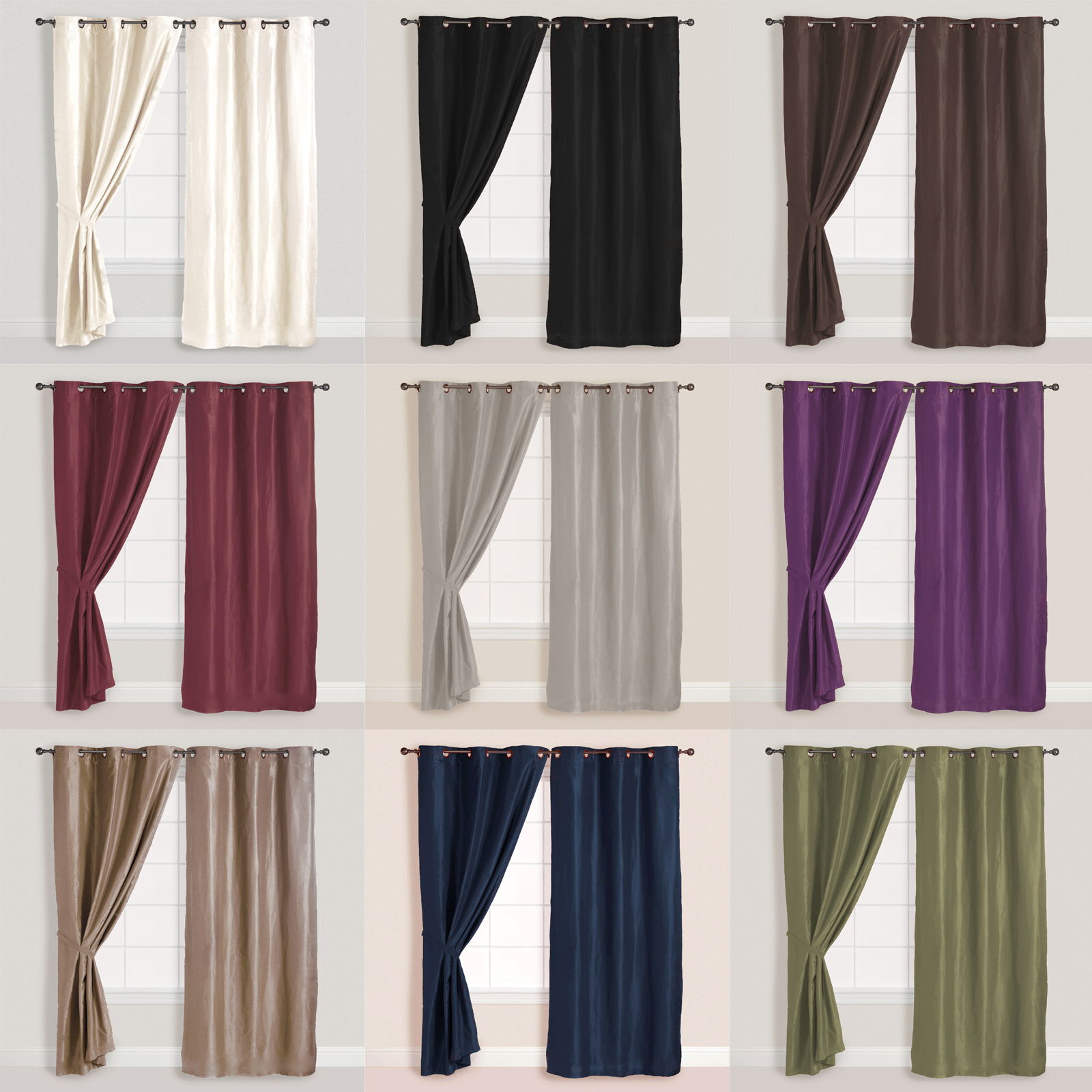 2x Panels Pair Faux Suede Metal Grommet Curtain Drape Set
