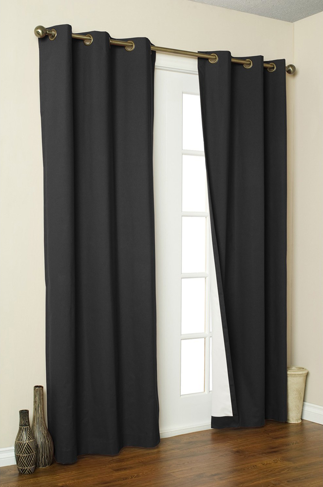 2x Panels Pair Microfiber Blackout Metal Grommet Curtain Washable Black 54 X 84 Ebay