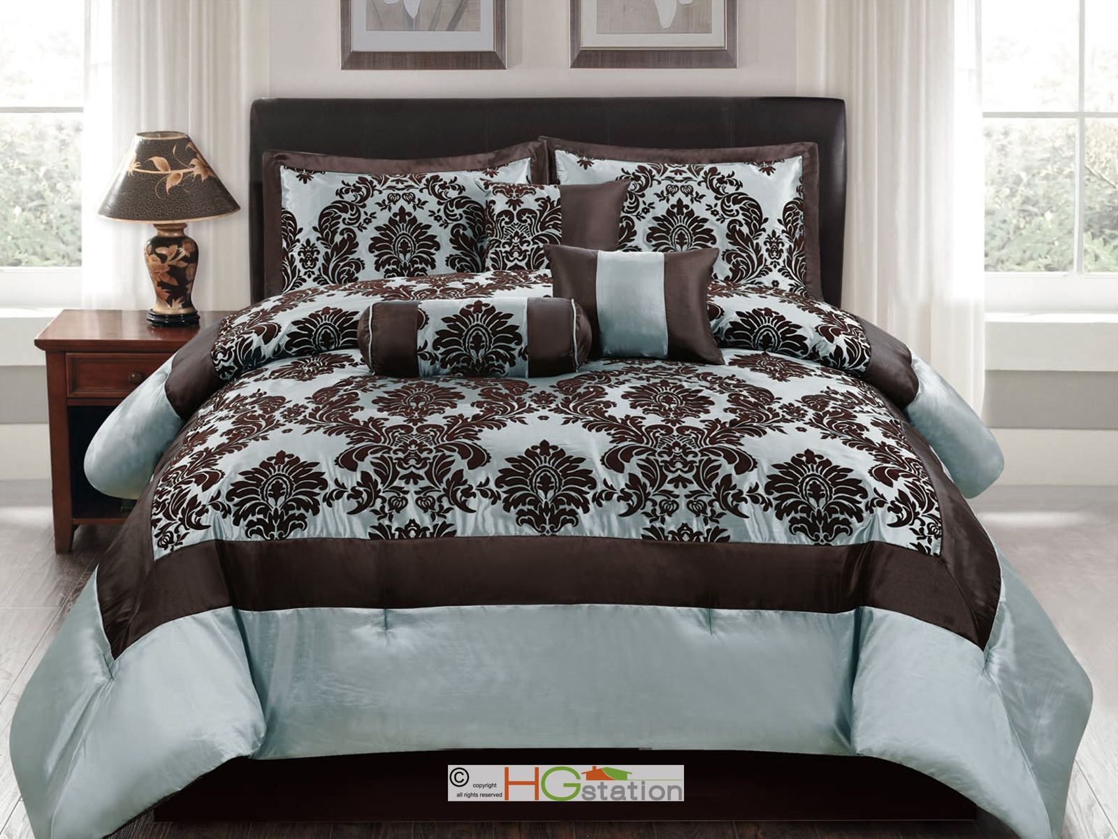 7p Silky Poly Satin Flocking Damask Floral Square Comforter Set Blue