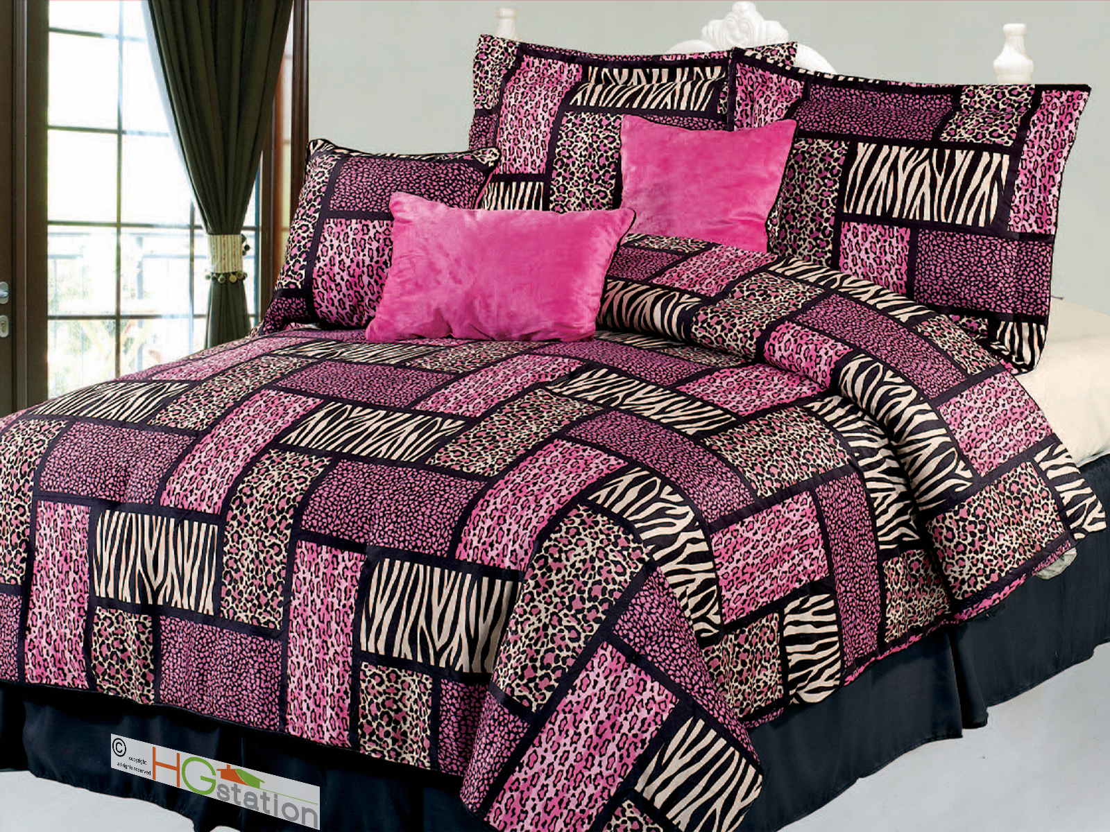 7 Pc Big Cat Feline Modern Rectangle Patchwork Leopard Cheetah Jaguar Tiger  Faux Fur Comforter Set Pink King