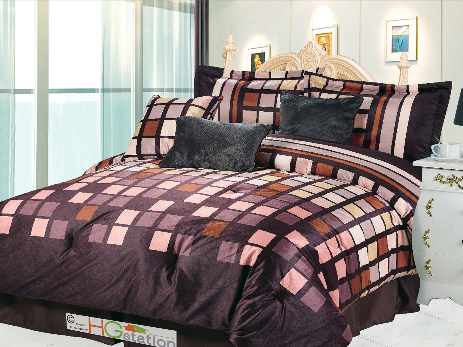7 Pc Square Patchwork Striped Faux Fur Comforter Set Brown