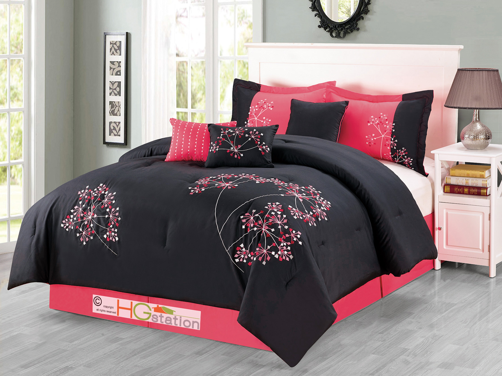 7 p cheerful artsy dandelion floral embroidery comforter for Hot pink bedroom set