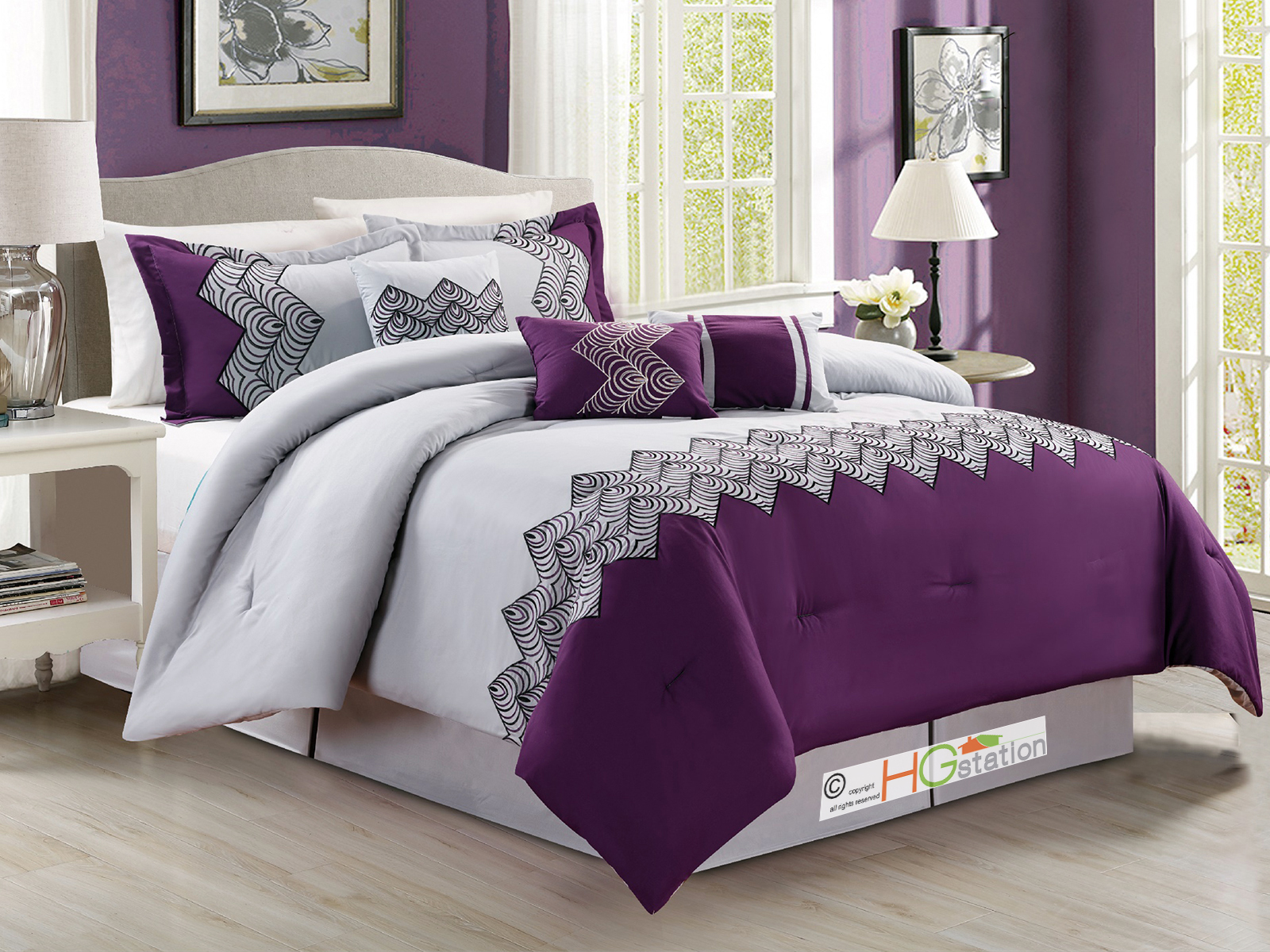 7P ZigZag Chevron Curved Embroidery Comforter Set Purple Light Gray Silver Queen 642709894414