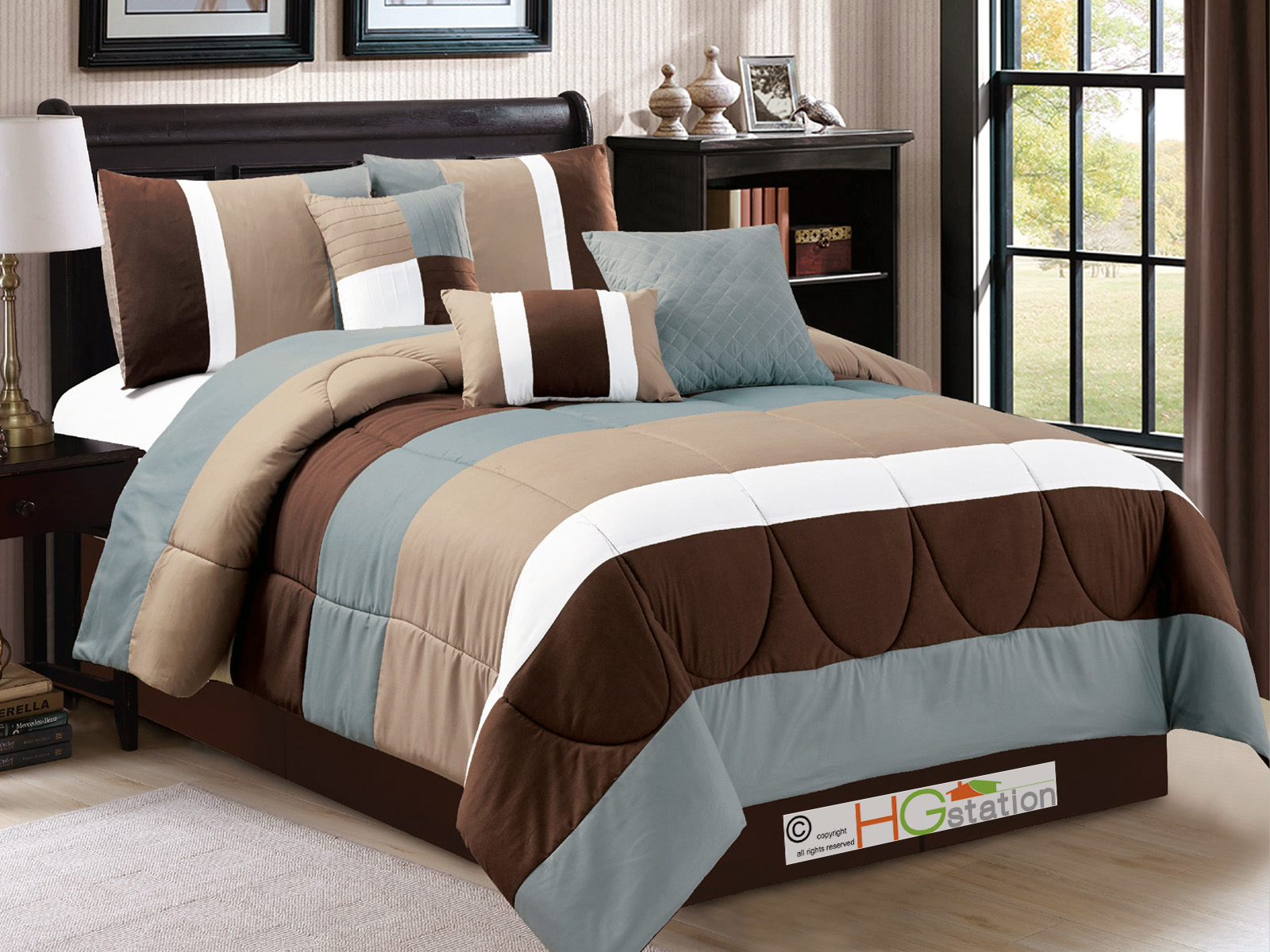 7p Modern Striped Pleated Quilted Comforter Set Brown
