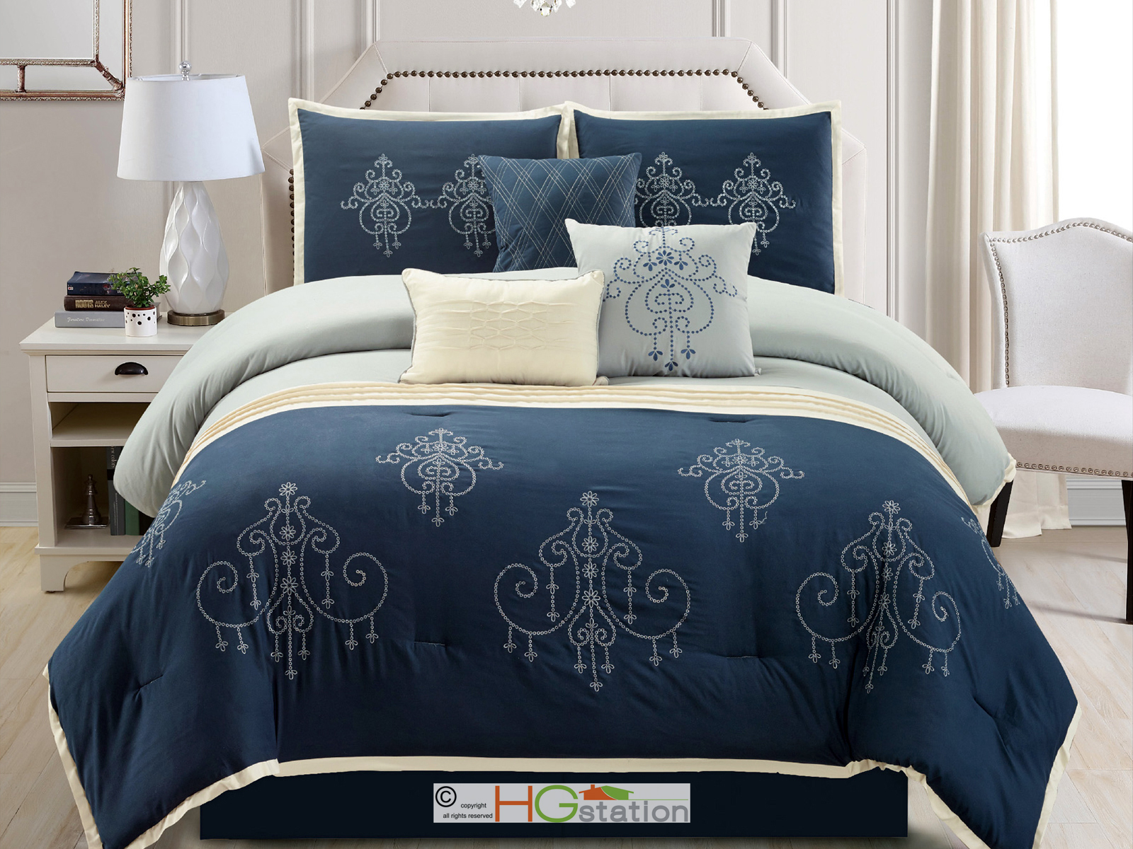 7-P Chandelier Scroll Damask Embroidery Comforter Set Blue Light Gray Ivory King 642709896494