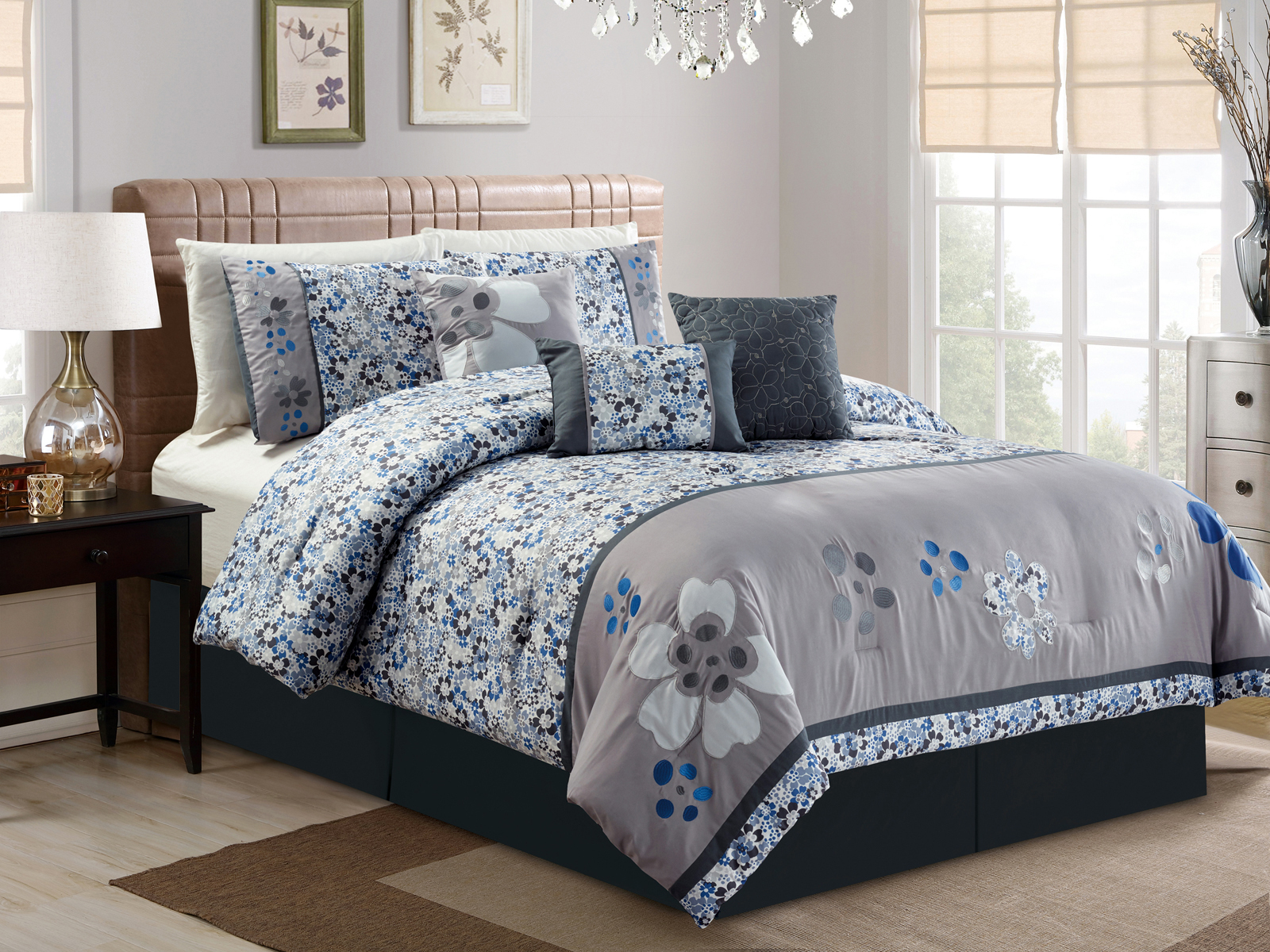 7-Pc Francis Applique Floral Embroidery Flocking Comforter
