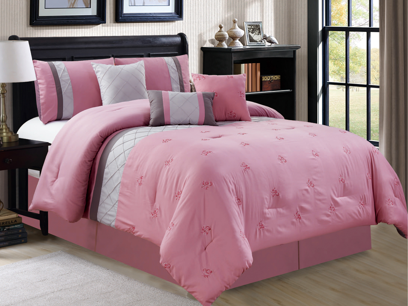 7p floral embroidery pleated diamond stripe comforter set pink gray silver queen 642709899228 ebay. Black Bedroom Furniture Sets. Home Design Ideas