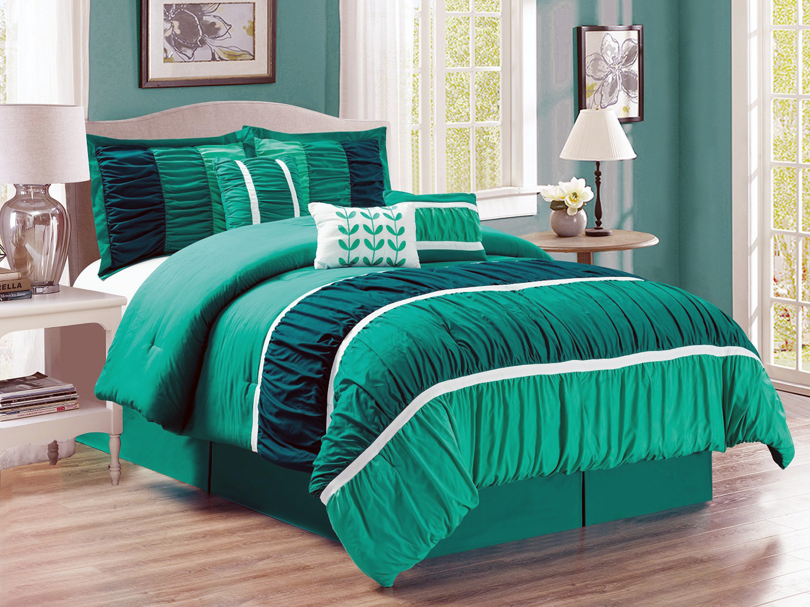 7 Pc Passion Ruffled Ruched Leaves Stripes forter Set Queen Teal
