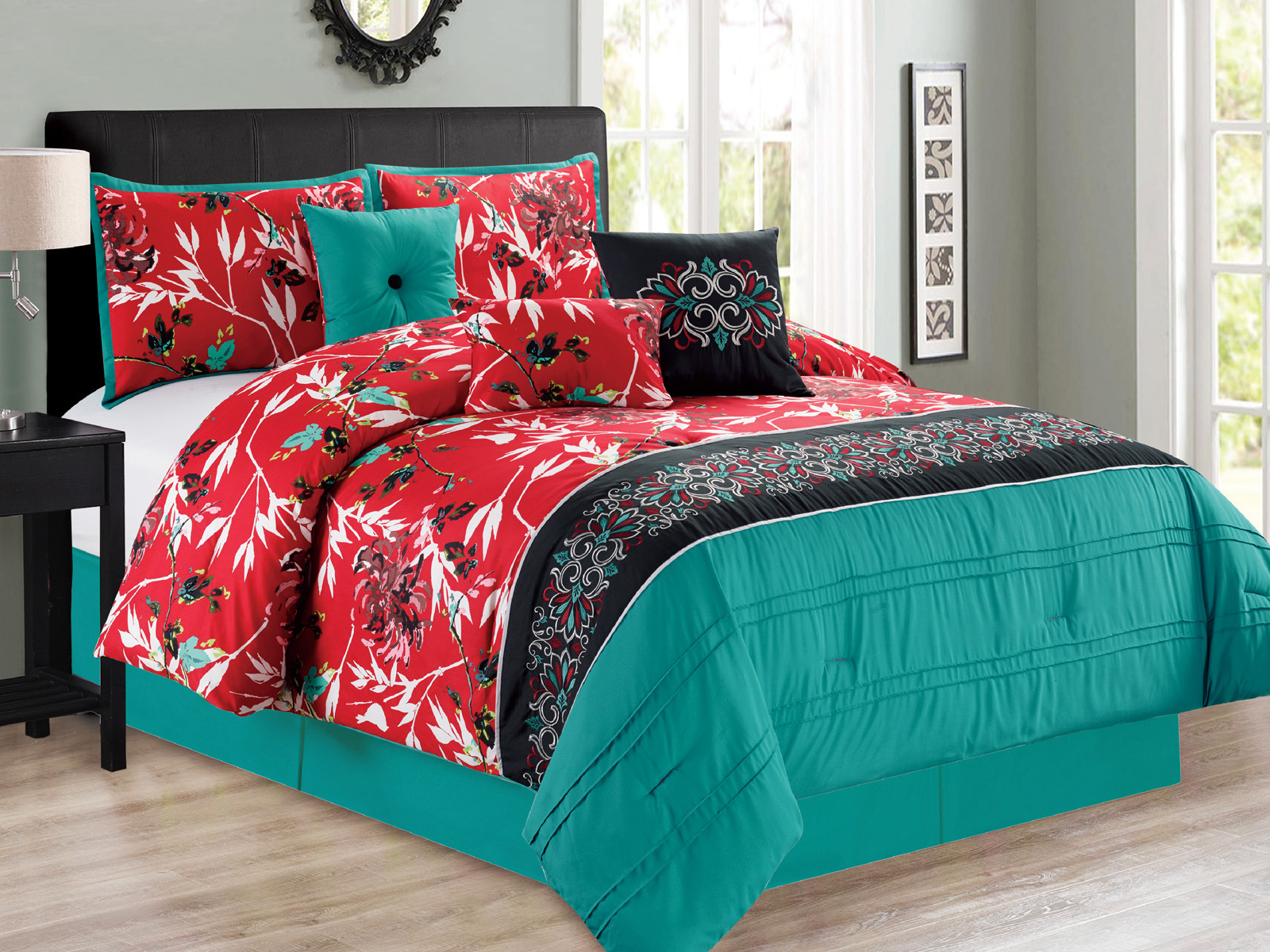 Details about 7-P Sachi Branches Silhouette Leaf Bird Floral Comforter Set  Turquoise Red Queen