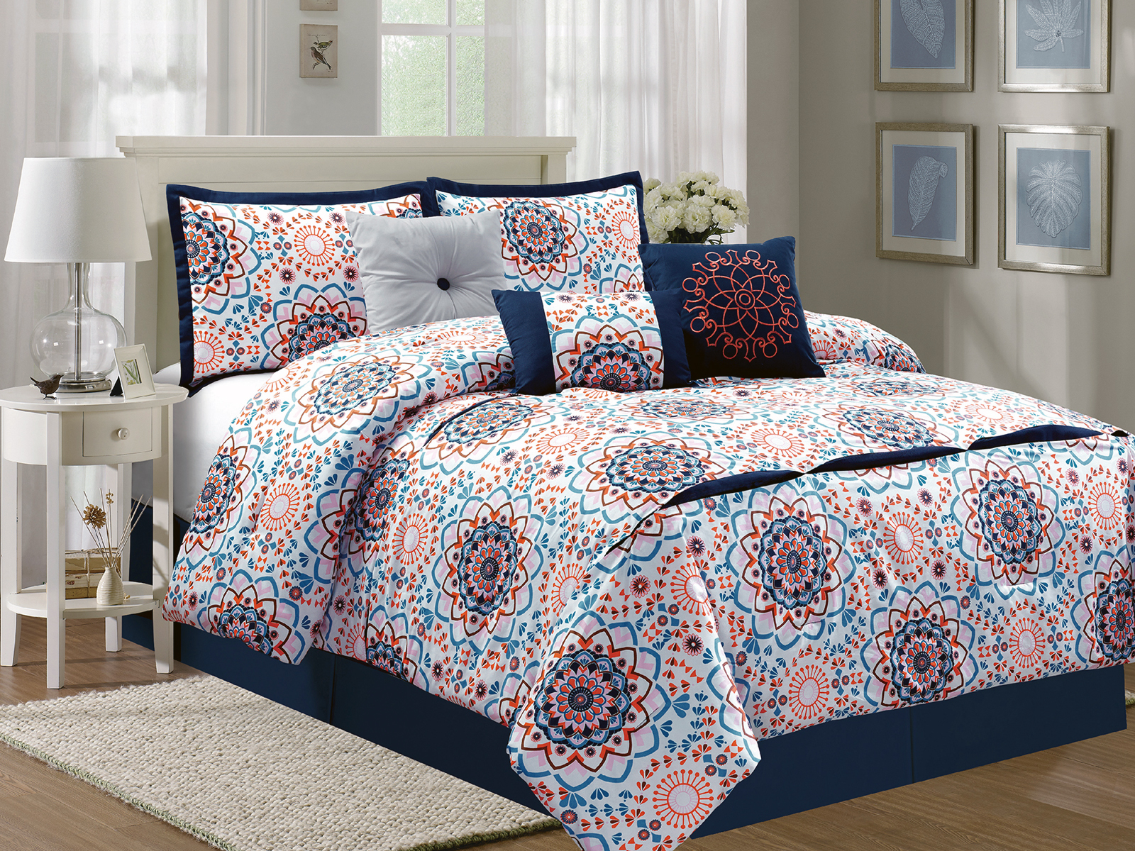 7 Pc Geometric Floral Embroidery Comforter Set Blue Orange Pink Off White King 642709899907 Ebay