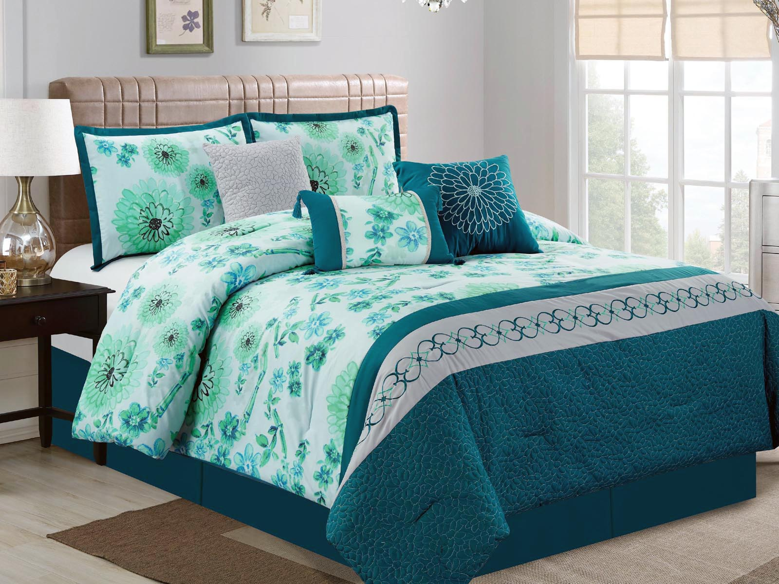 7-Pc Watercolor Floral Scroll Quilted Comforter Set Blue ...