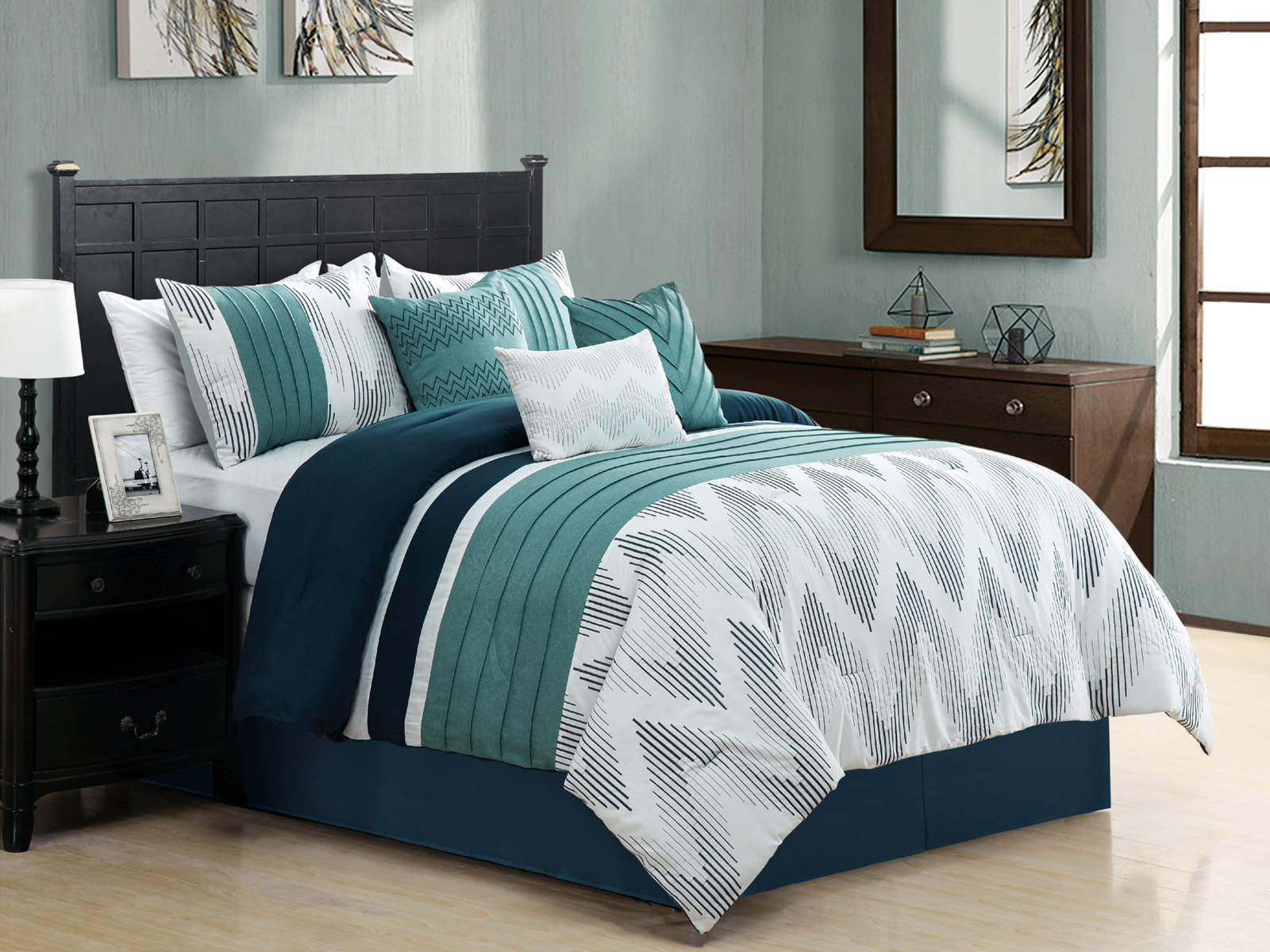 7 Striated Embroidery Chevron Zigzag Comforter Set Cal King Navy Blue Teal Green 642709903666 Ebay