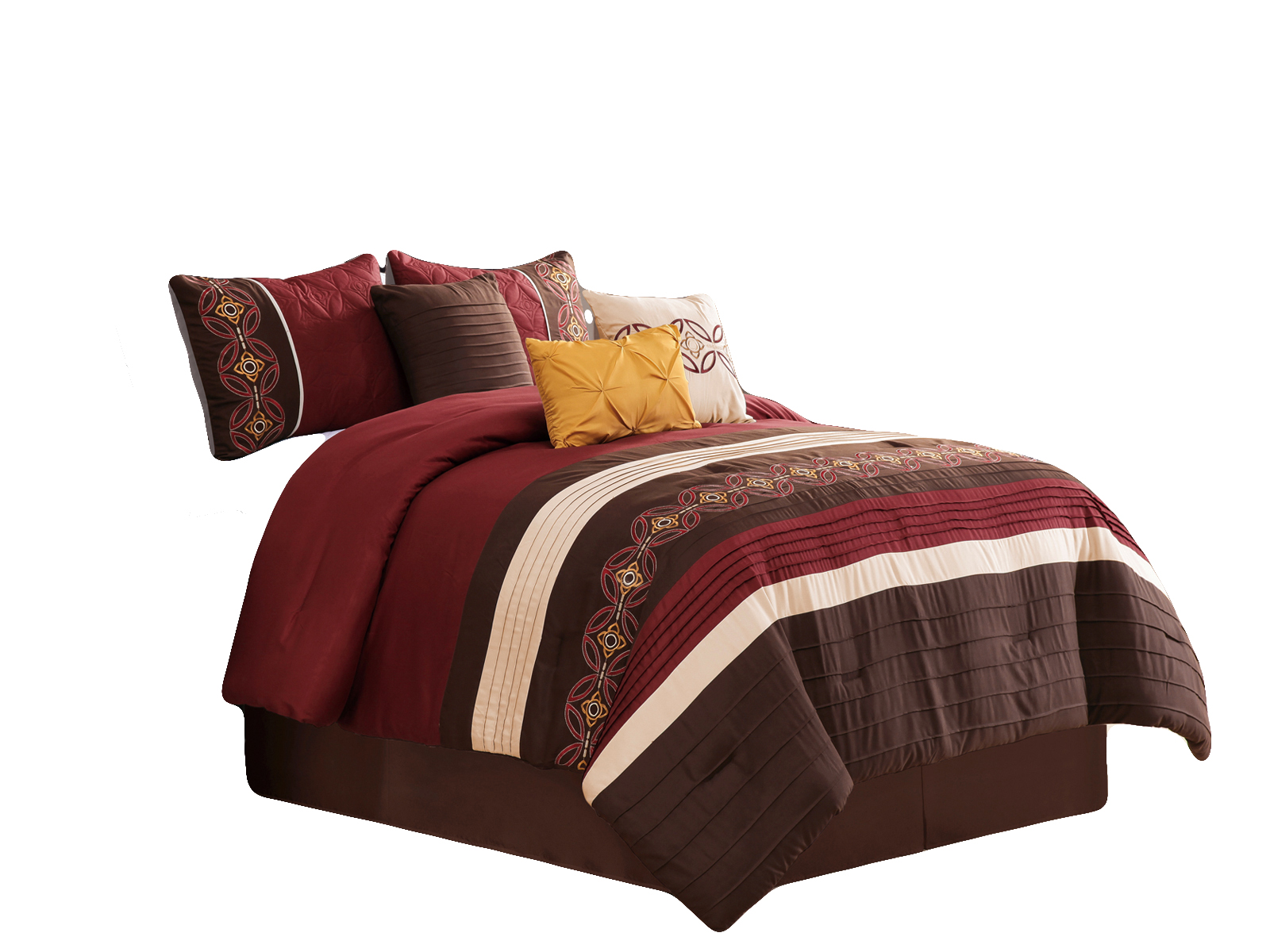 7 Pc Maury Floral Medallion Embroidery Embossed Pleated Stripe Comforter Set Burgundy Brown Beige King