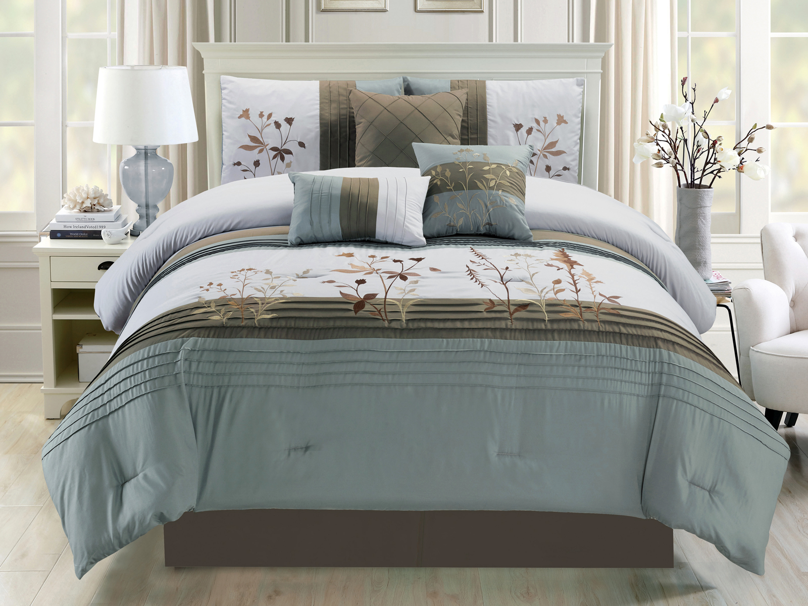 7 Pc Mischa Spring Wild Flower Embroidery Comforter Set Slate Blue Gray Queen Ebay