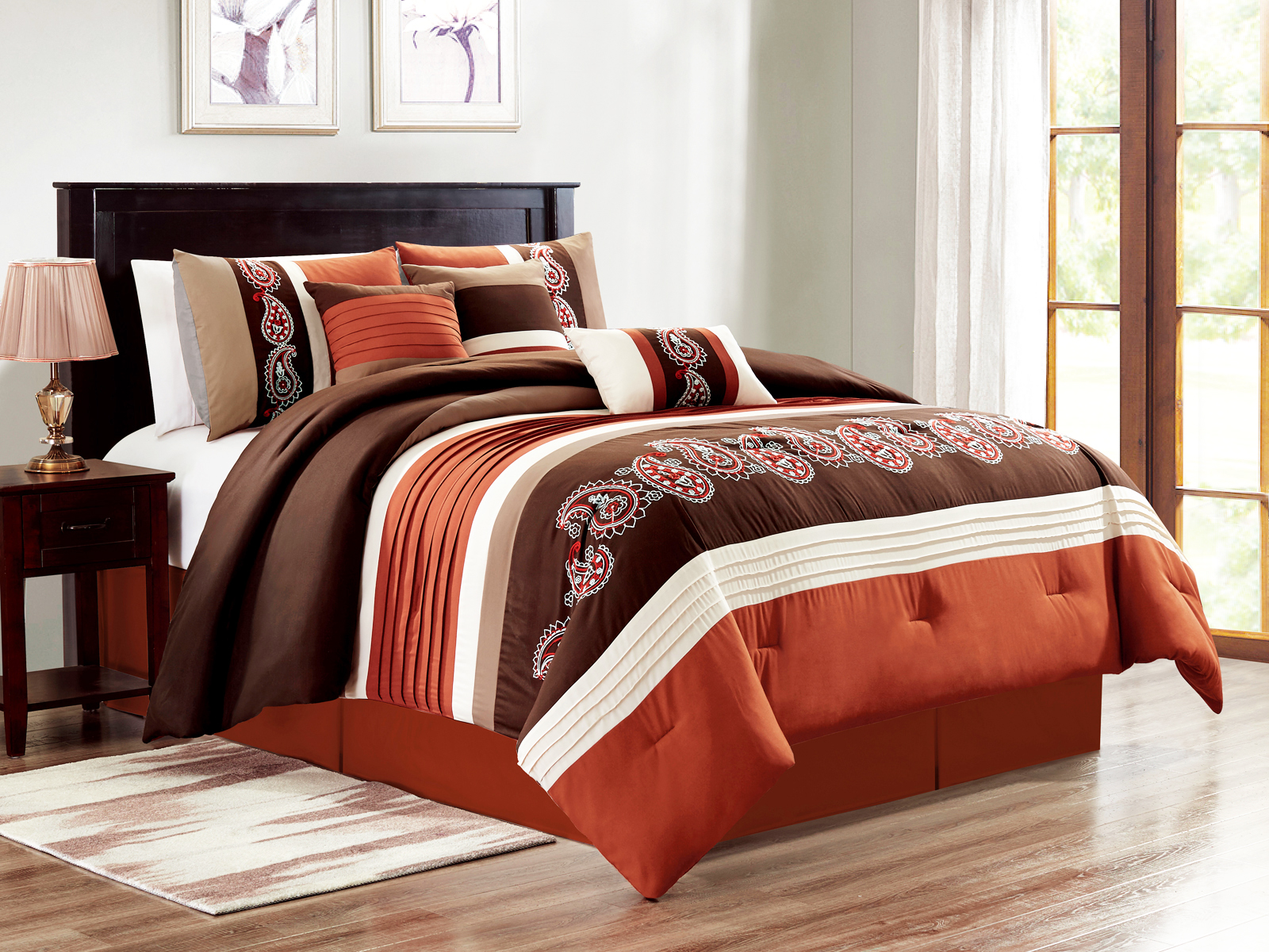 brown bedding comforter rust pc set designs and embroidery geometric fl striped clover