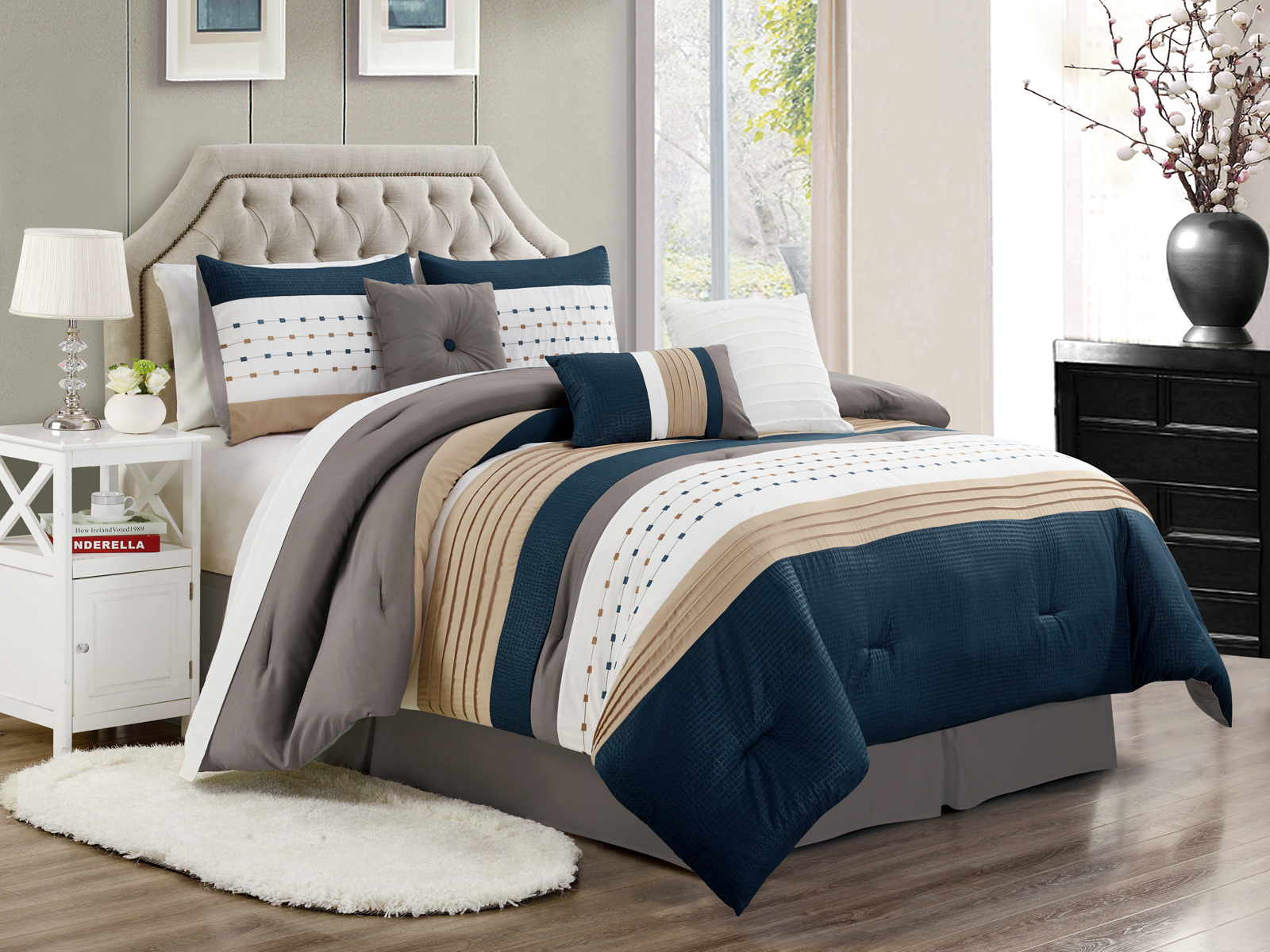 7 Pc Jasper Pleated Embossed Square Comforter Set Navy Beige White Gray King 655881350579 Ebay